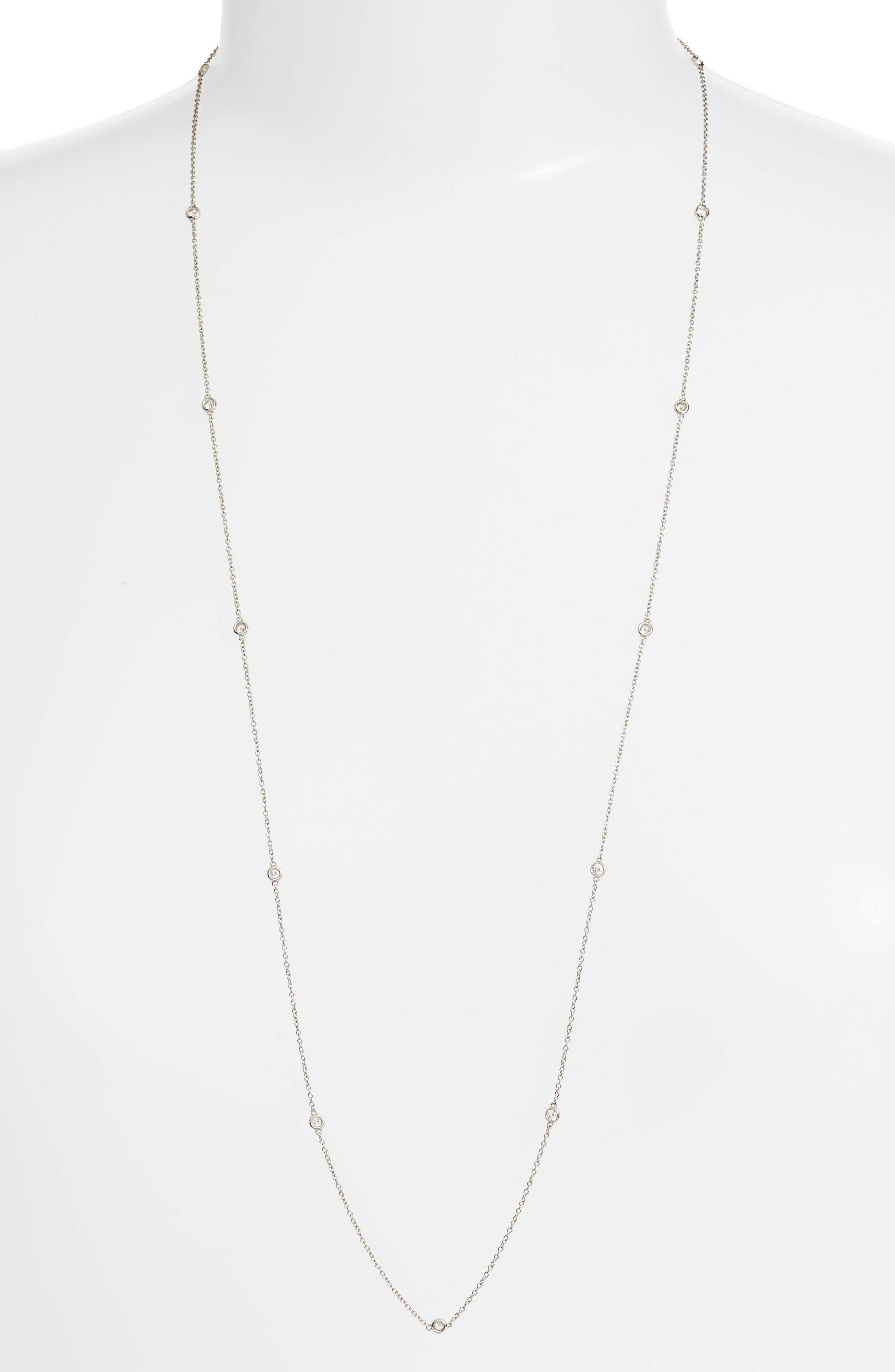 Diamonds by the Yard Necklace,                             Main thumbnail 1, color,                             WHITE GOLD