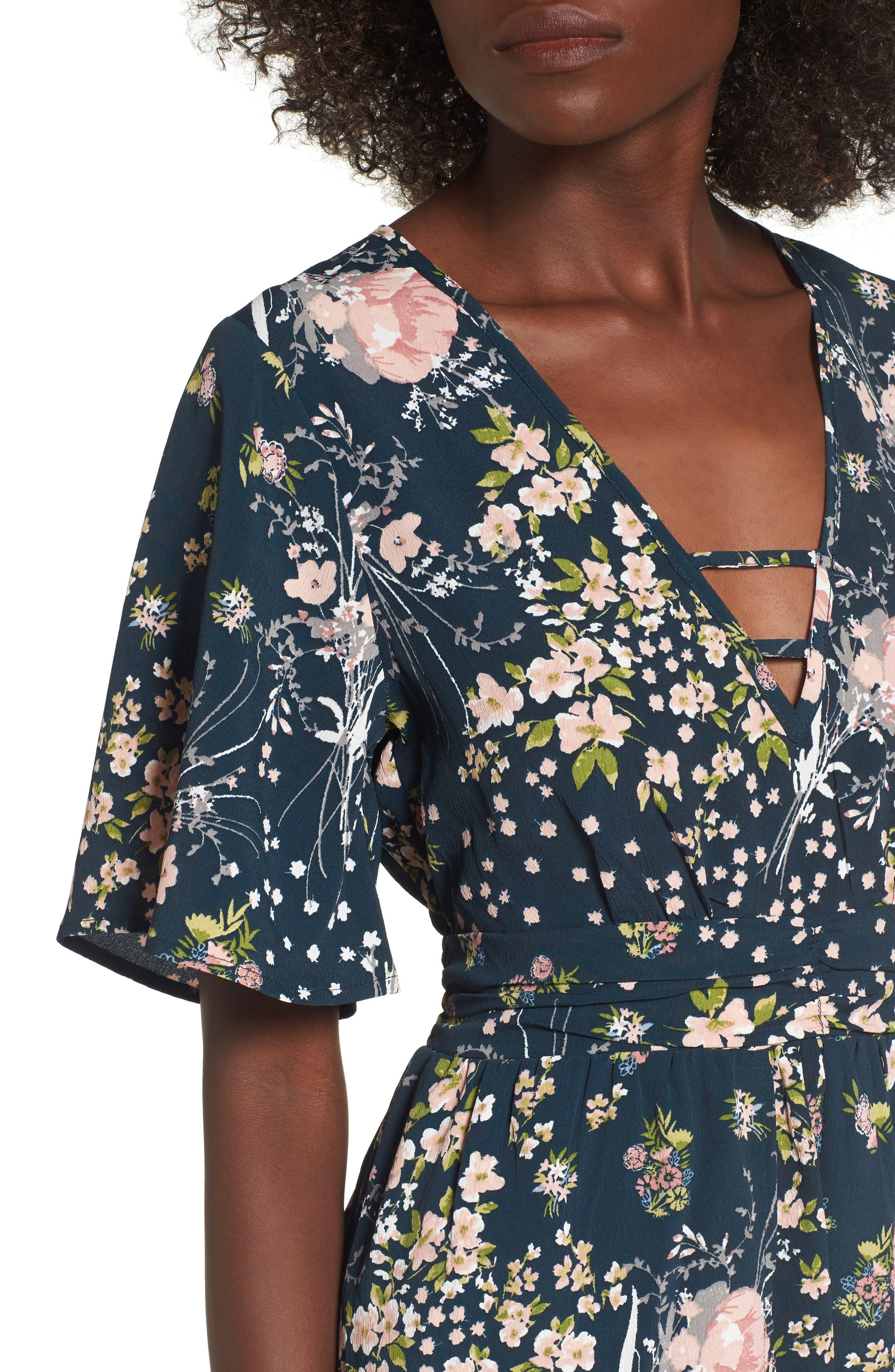 Moody Floral Print Maxi Romper,                             Alternate thumbnail 4, color,