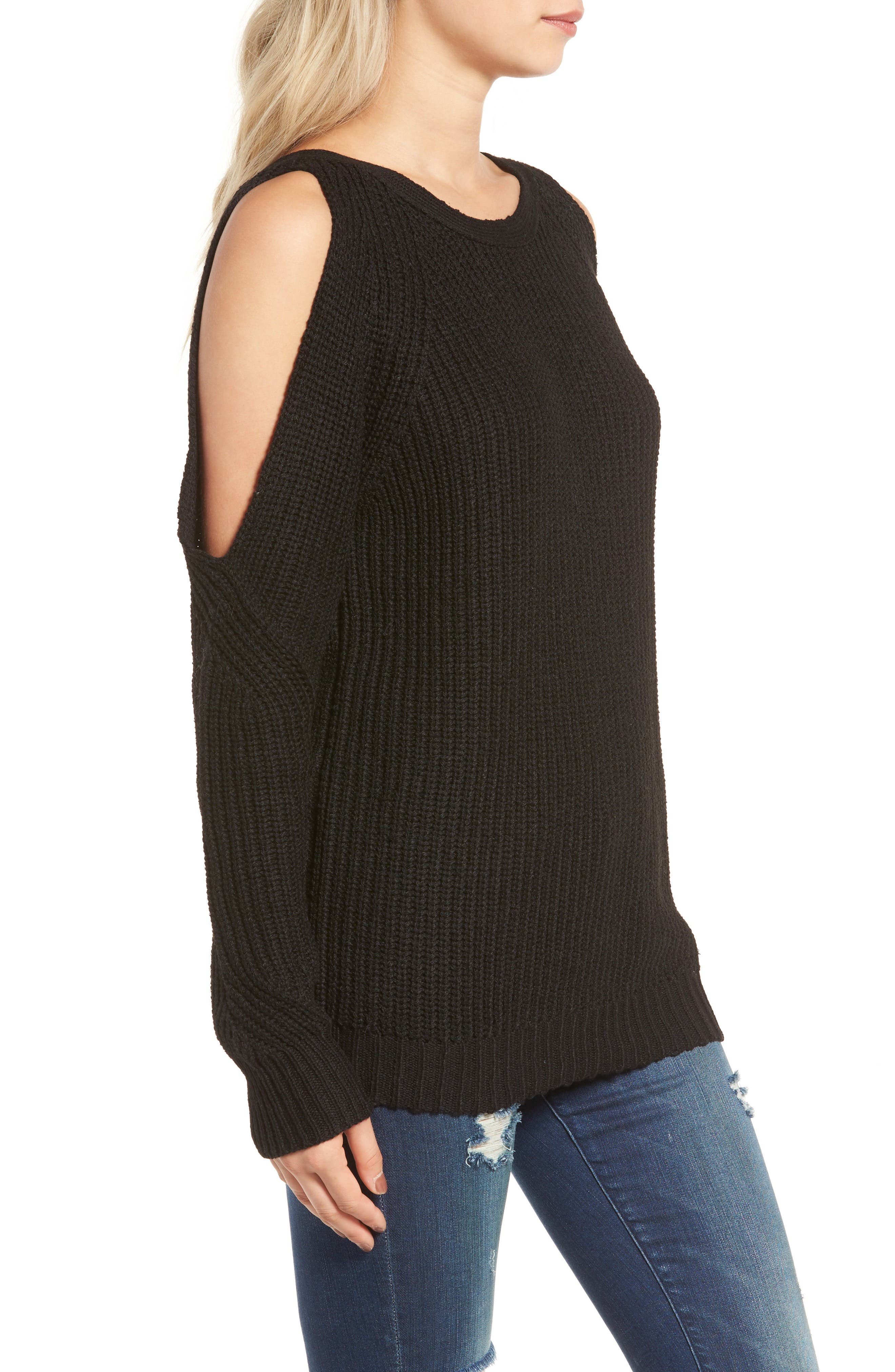 Cold Shoulder Sweater,                             Alternate thumbnail 3, color,                             001