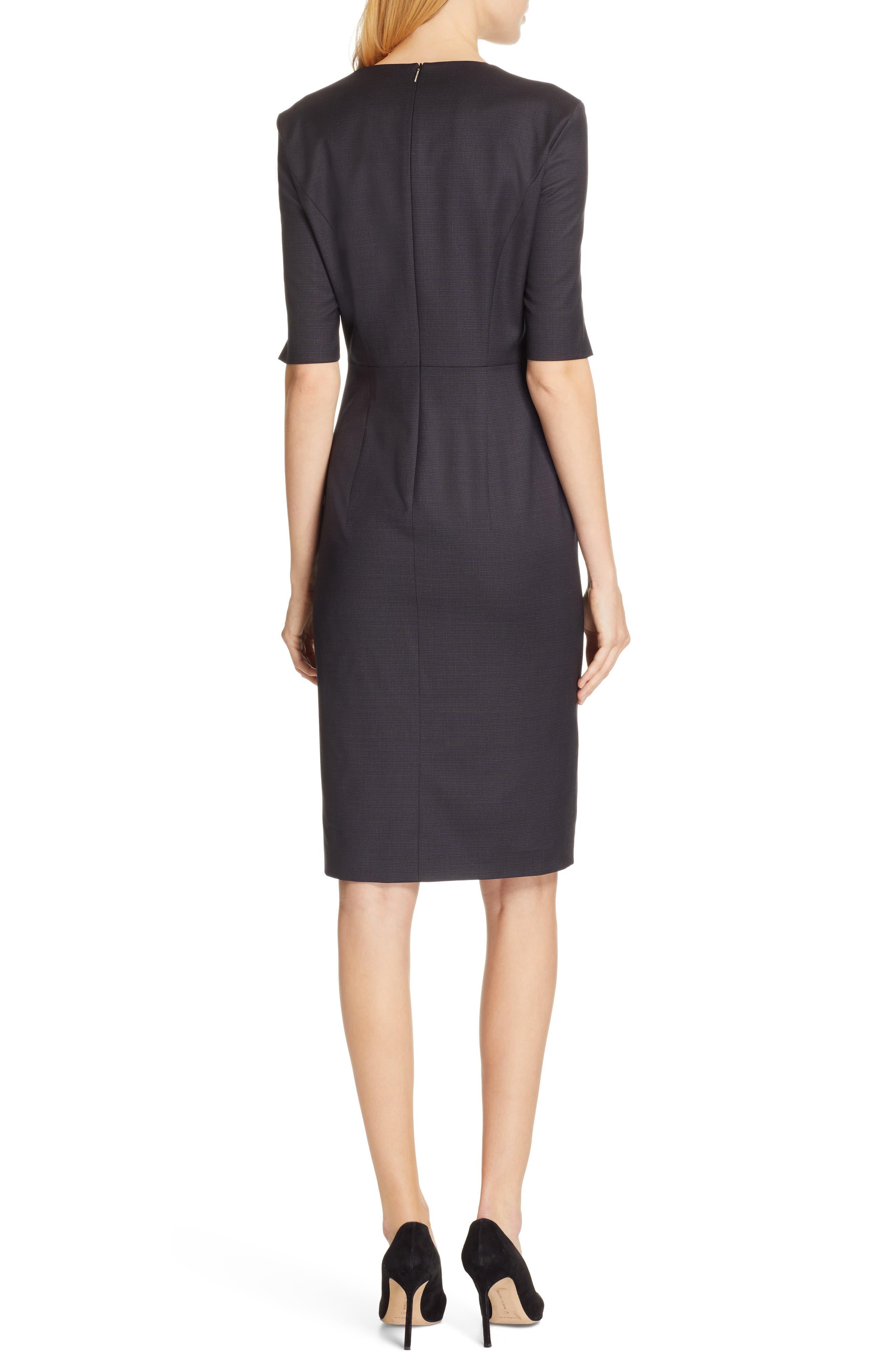 BOSS,                             Dalissa Pepita Wool Dress,                             Alternate thumbnail 2, color,                             BLACK FANTASY