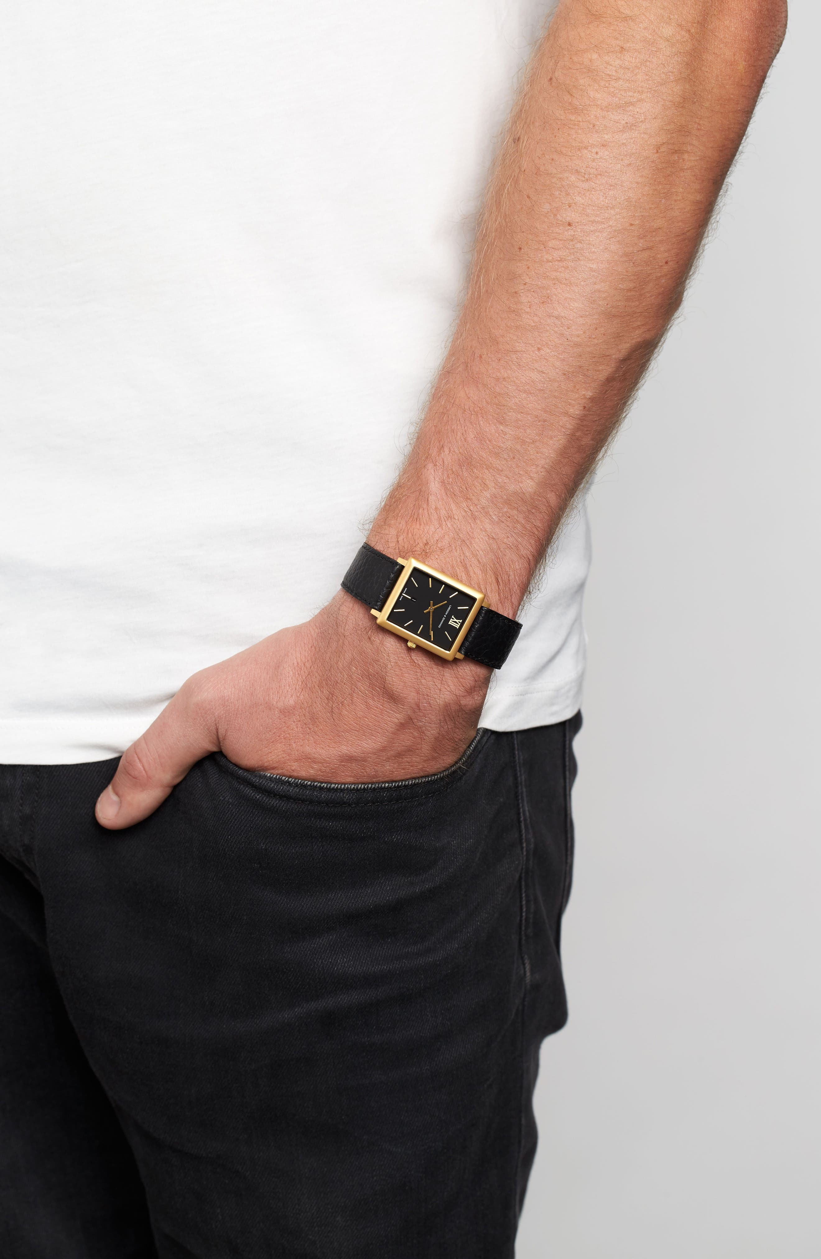 'Norse' Rectangular Leather Strap Watch, 29mm x 40mm,                             Alternate thumbnail 2, color,                             001