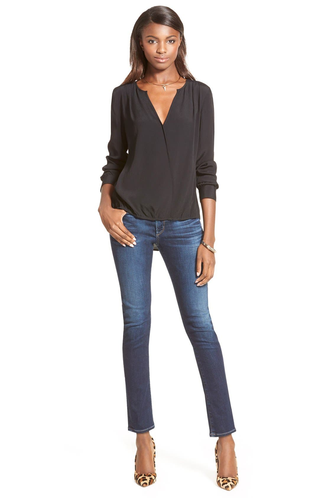 'Arielle' Mid Rise Slim Jeans,                             Alternate thumbnail 3, color,                             463