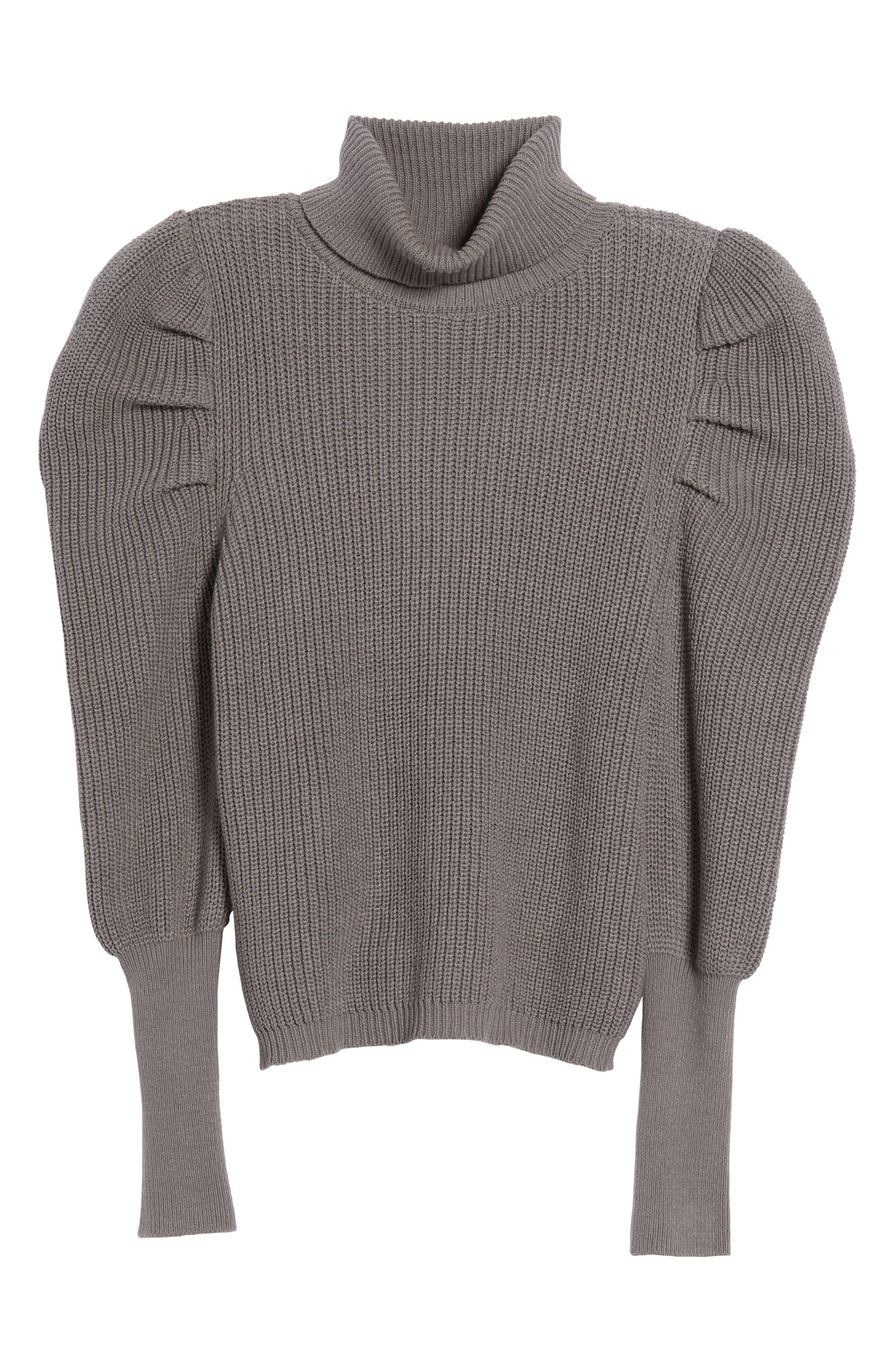 Puff Sleeve Turtleneck Sweater,                             Alternate thumbnail 6, color,                             030