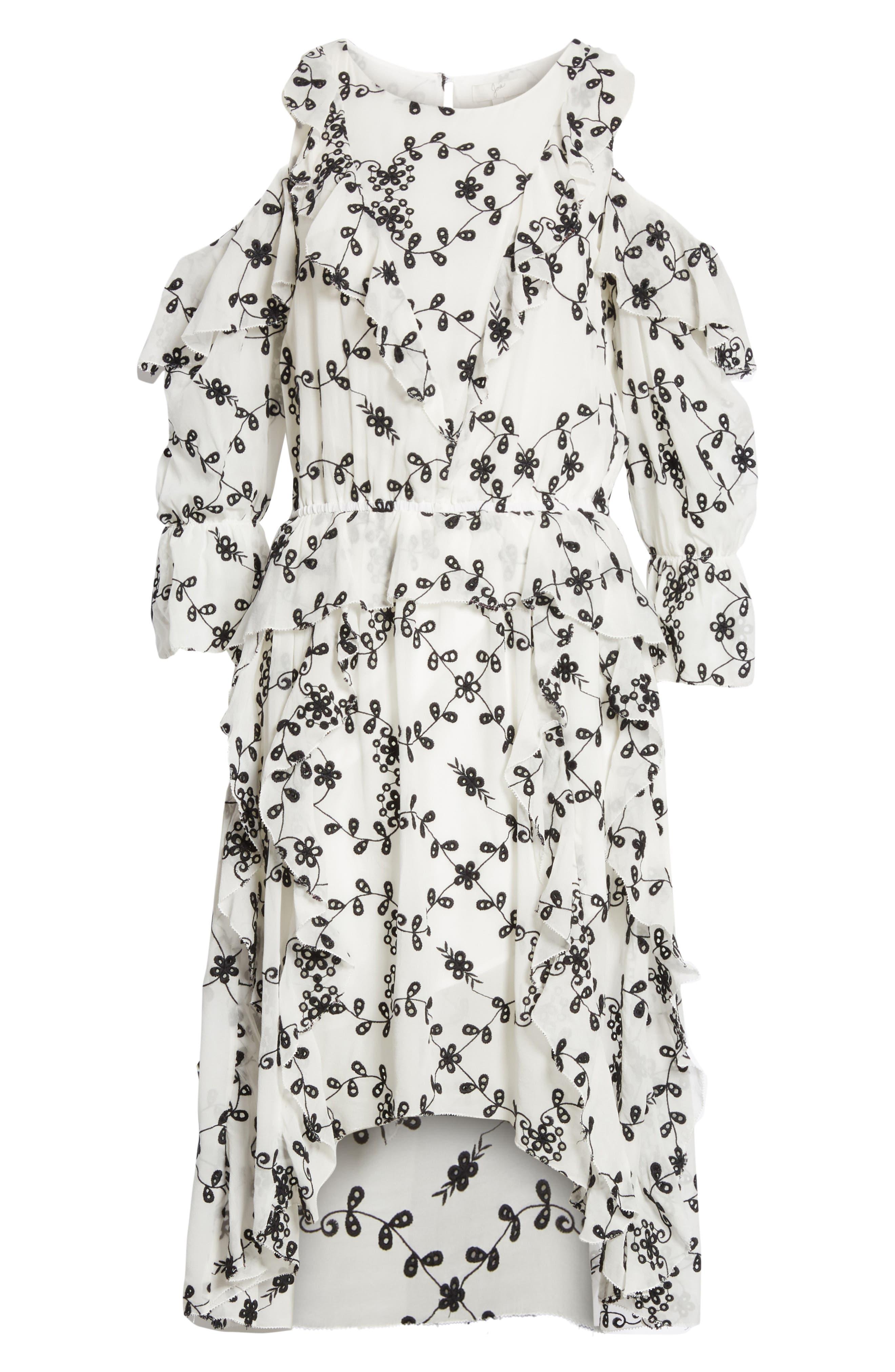 Alpheus Cold Shoulder Ruffled Silk Dress,                             Alternate thumbnail 12, color,