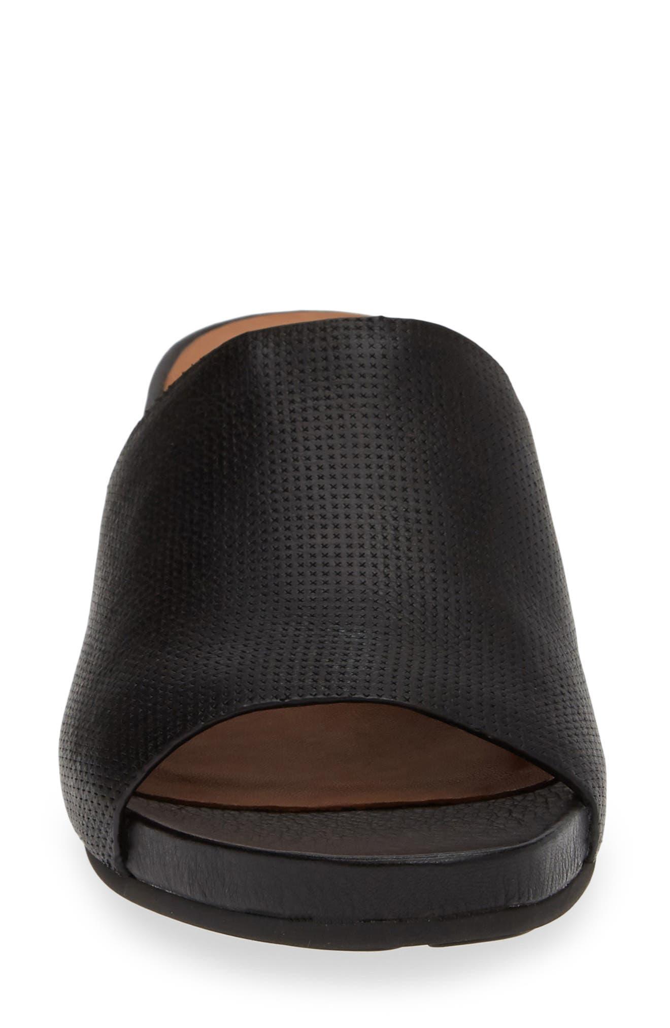 Gisele Wedge Slide Sandal,                             Alternate thumbnail 4, color,                             BLACK LEATHER