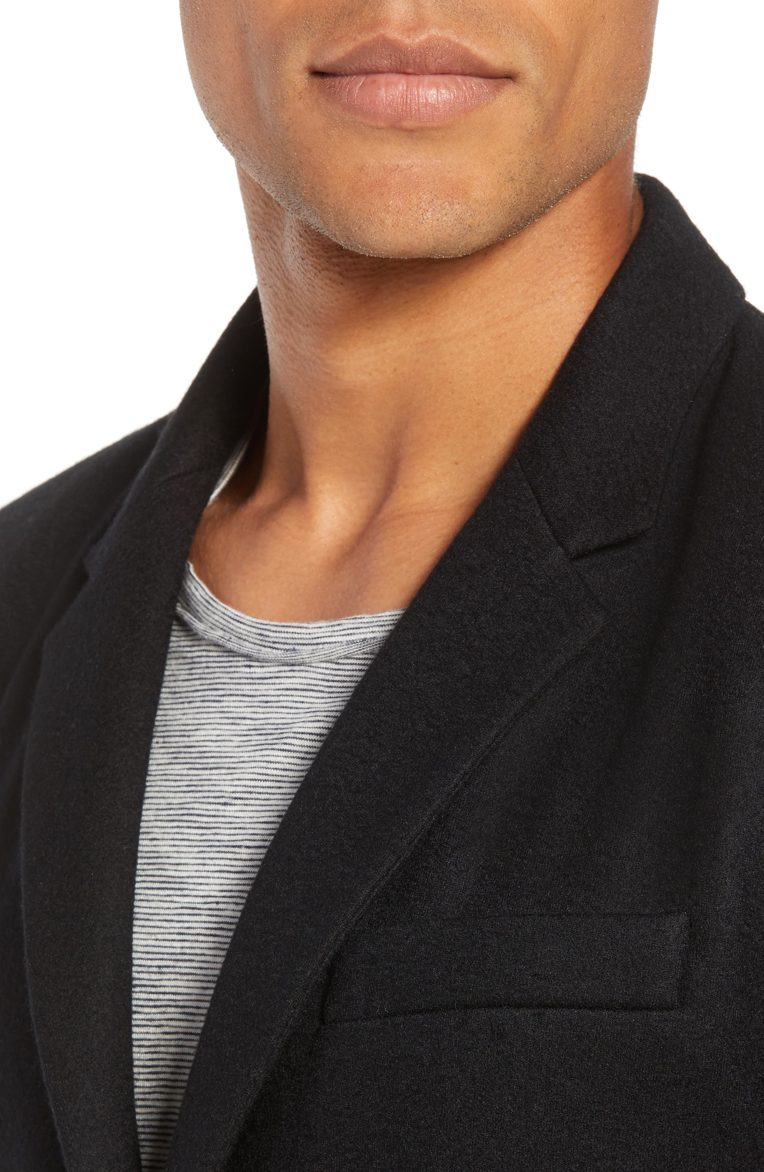 Deconstructed Razor Slim Fit Wool Jacket,                             Alternate thumbnail 4, color,                             BLACK