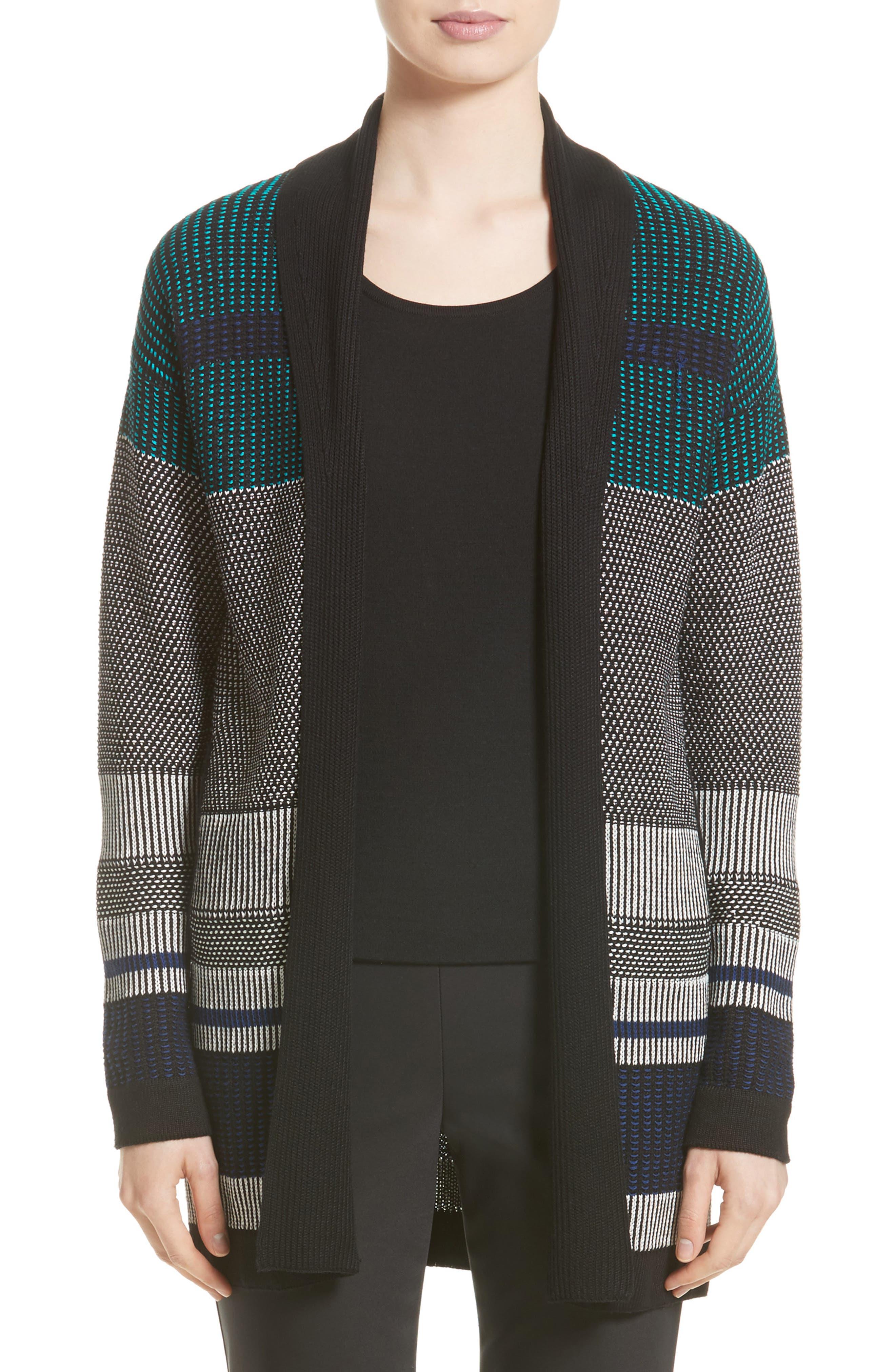 Engineered Inlay Stitch Knit Cardigan,                         Main,                         color, 020