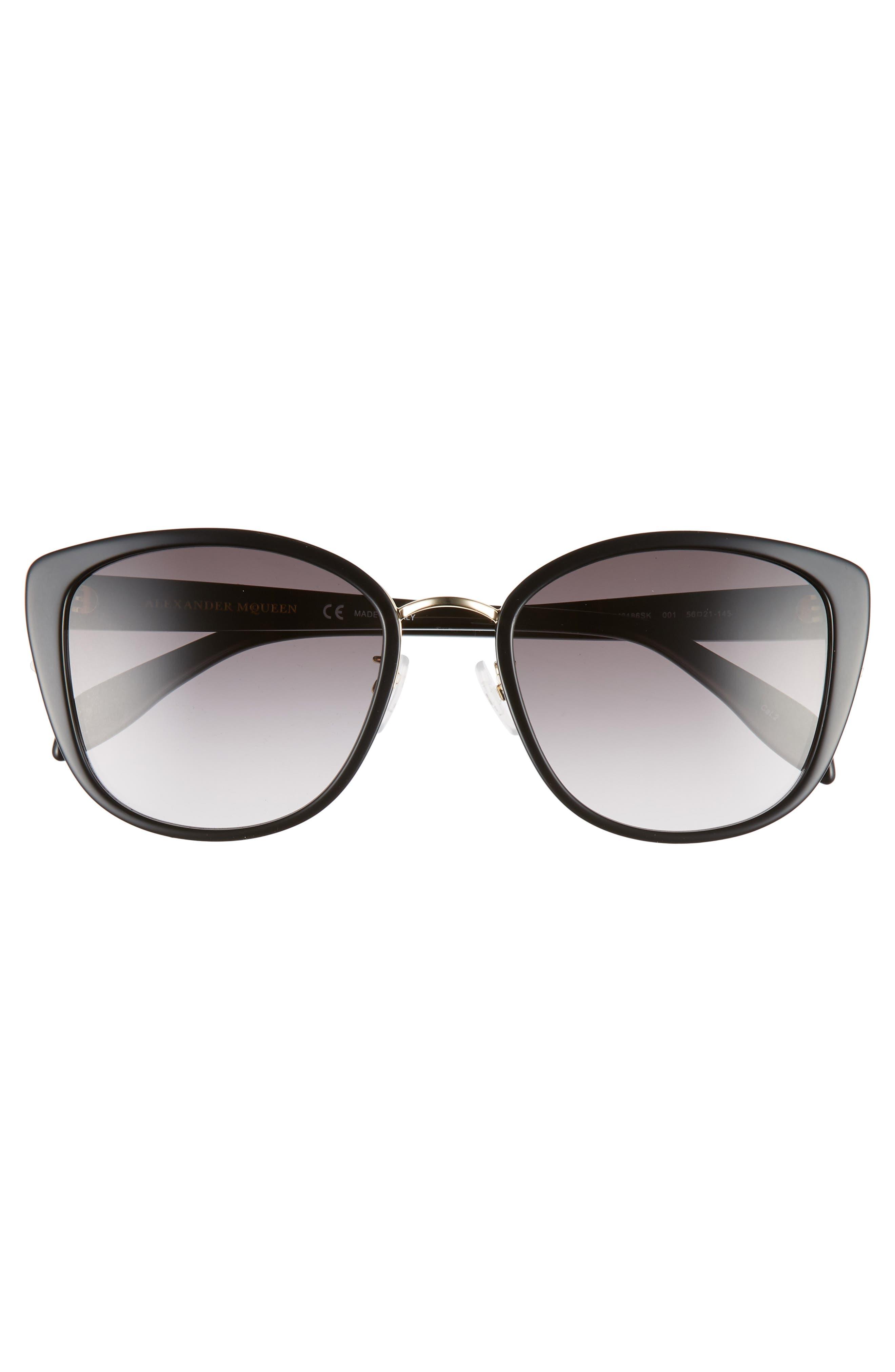 ALEXANDER MCQUEEN,                             56mm Gradient Round Sunglasses,                             Alternate thumbnail 3, color,                             BLACK/ GOLD