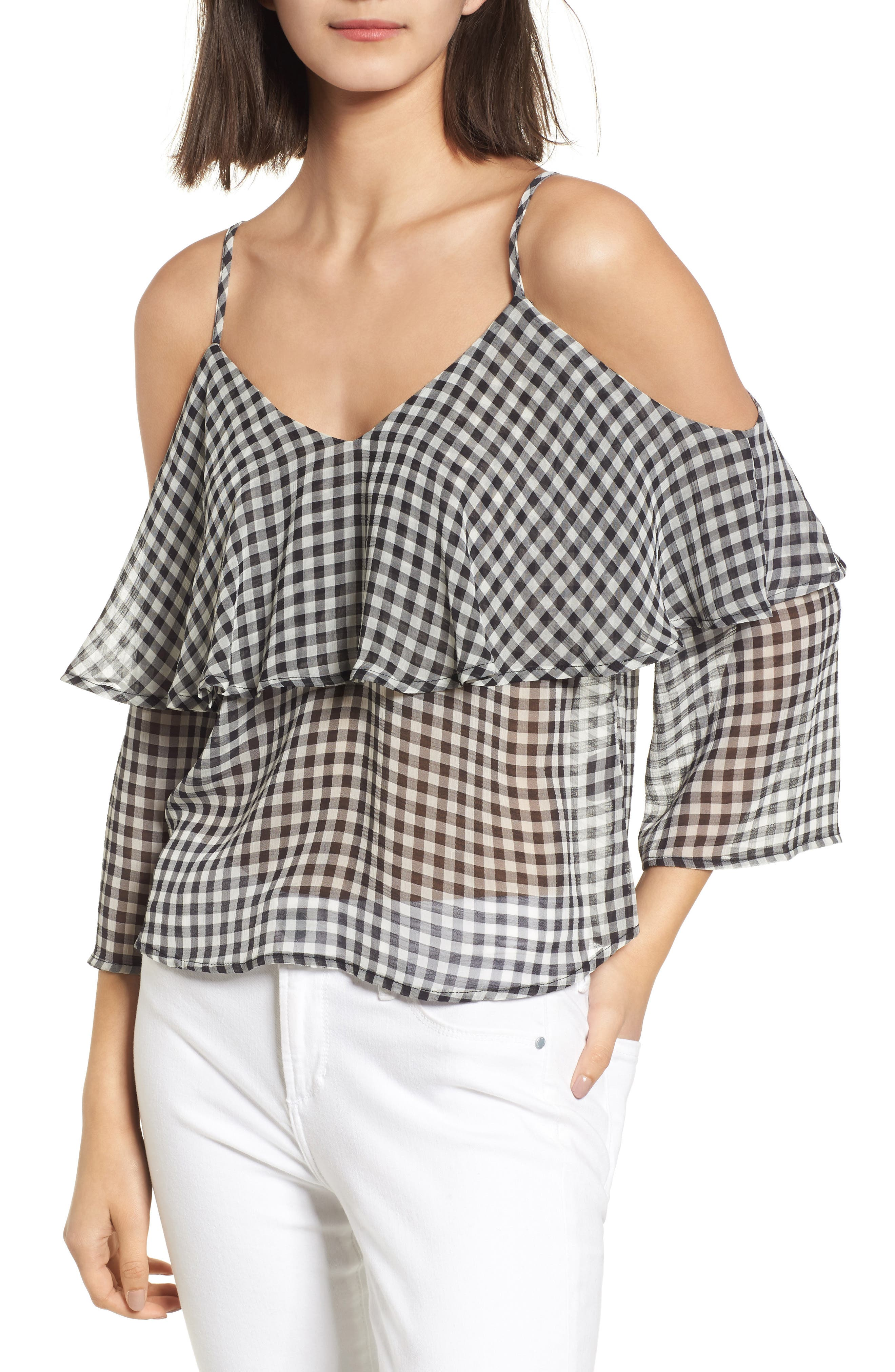 Gingham Cold Shoulder Top,                             Main thumbnail 1, color,