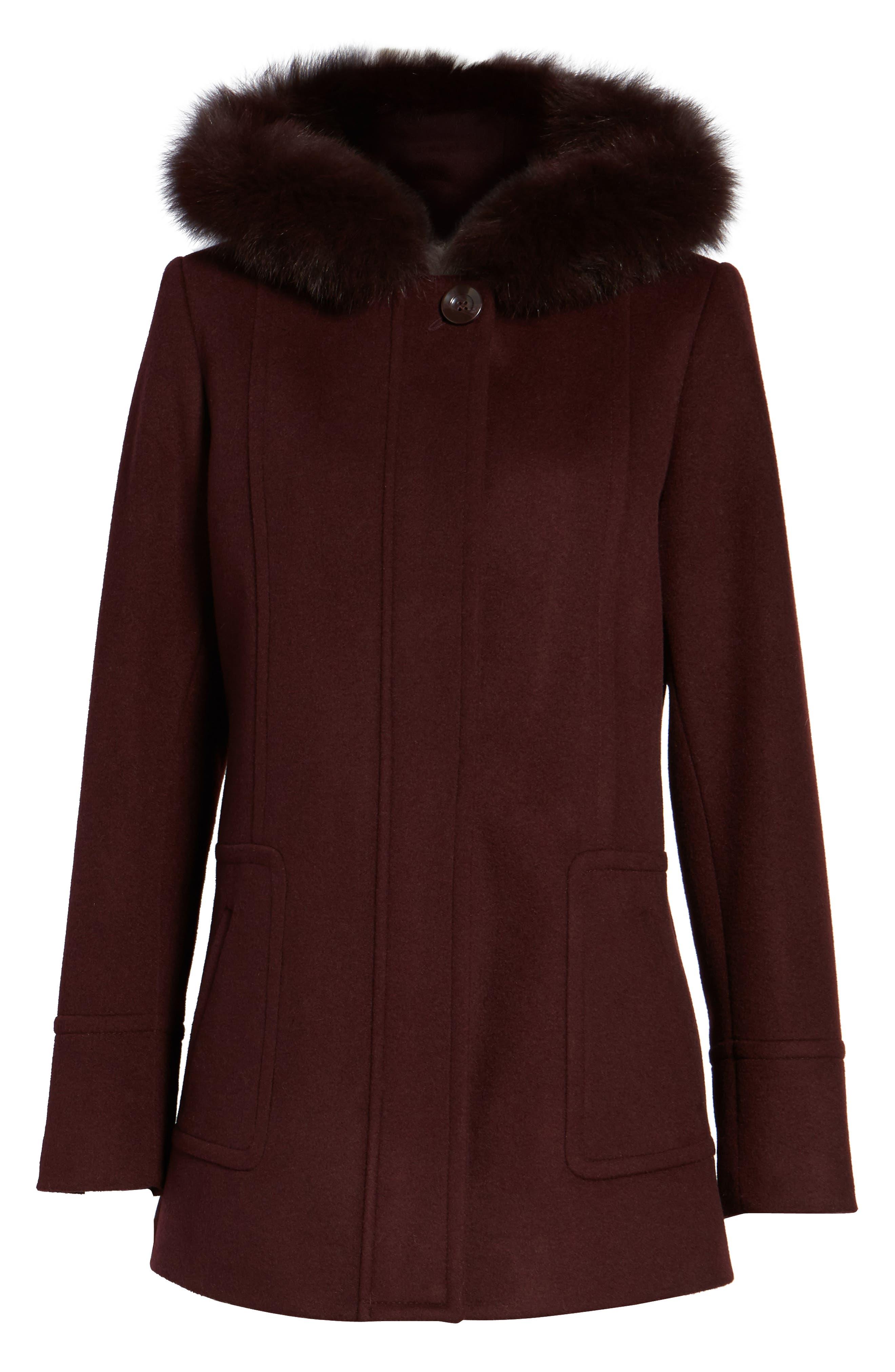 Hooded Wool Blend Coat with Genuine Fox Fur Trim,                             Alternate thumbnail 15, color,