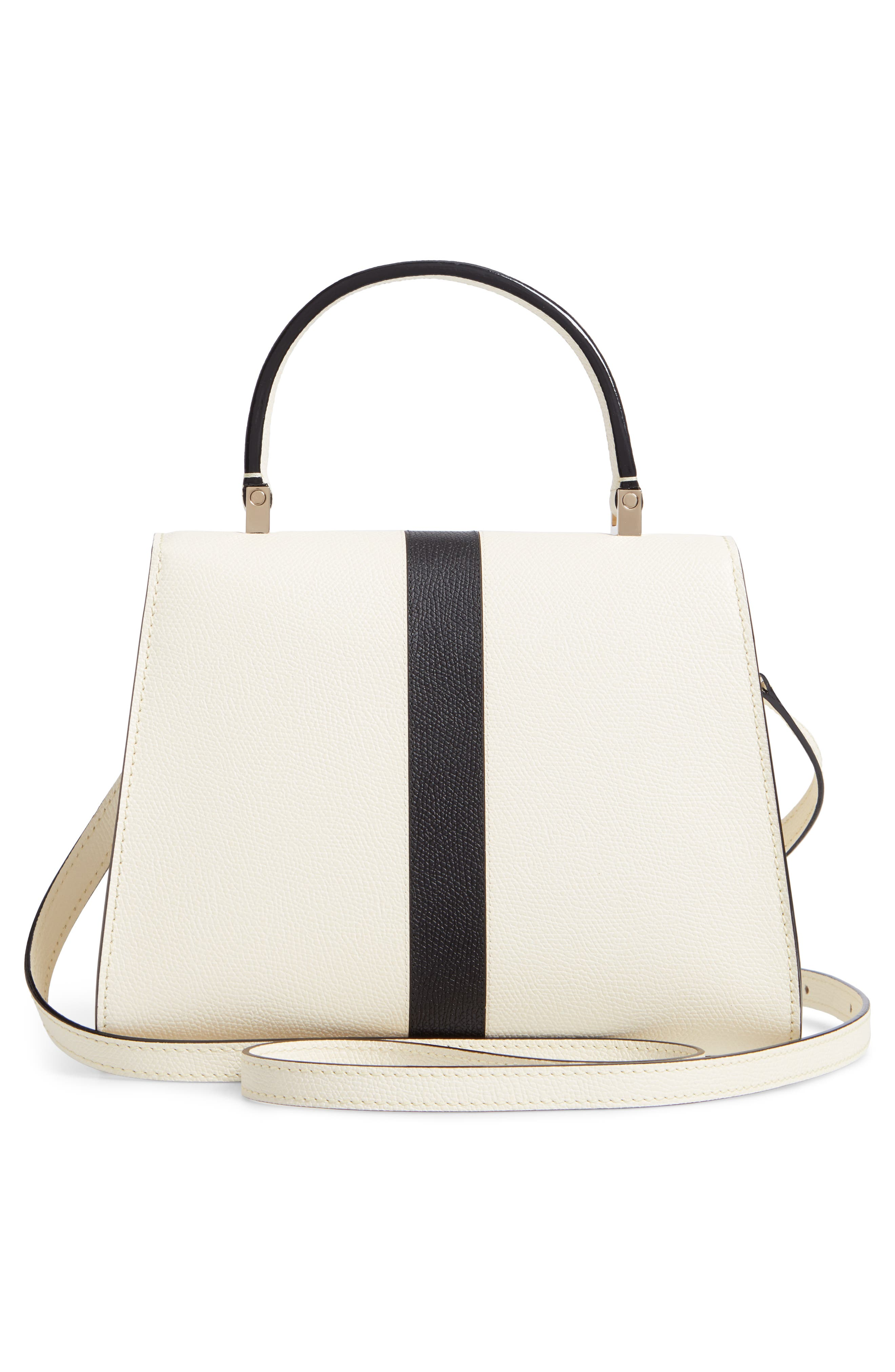 Mini Iside Top Handle Bag,                             Alternate thumbnail 3, color,                             WHITE/ BLACK