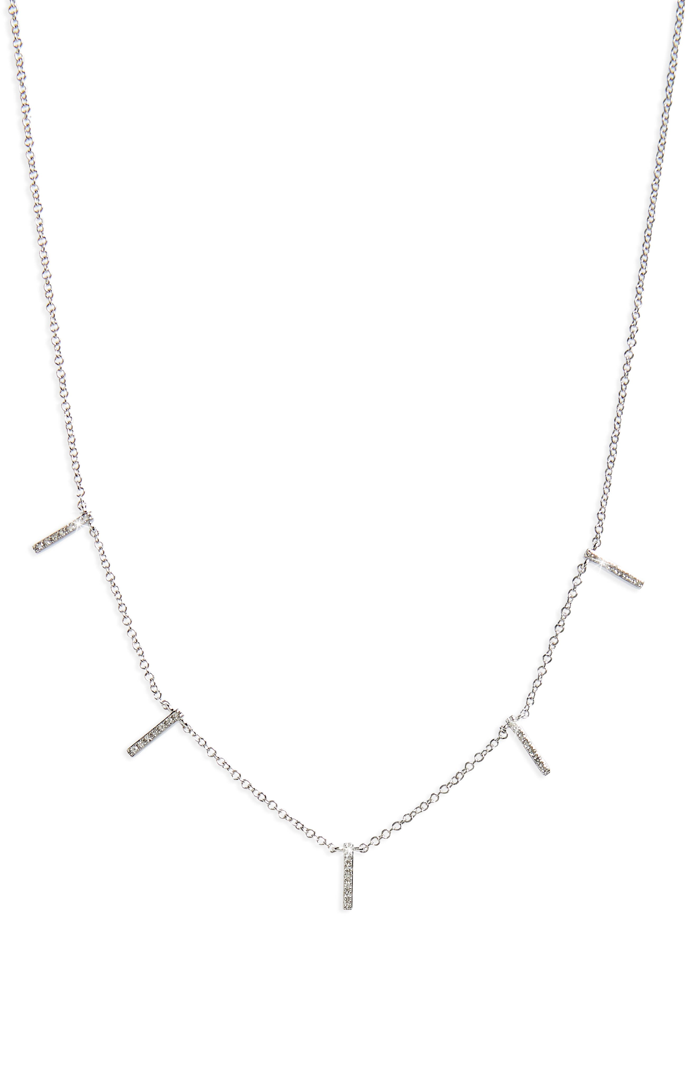 Diamond Collar Necklace,                             Main thumbnail 1, color,                             WHITE GOLD