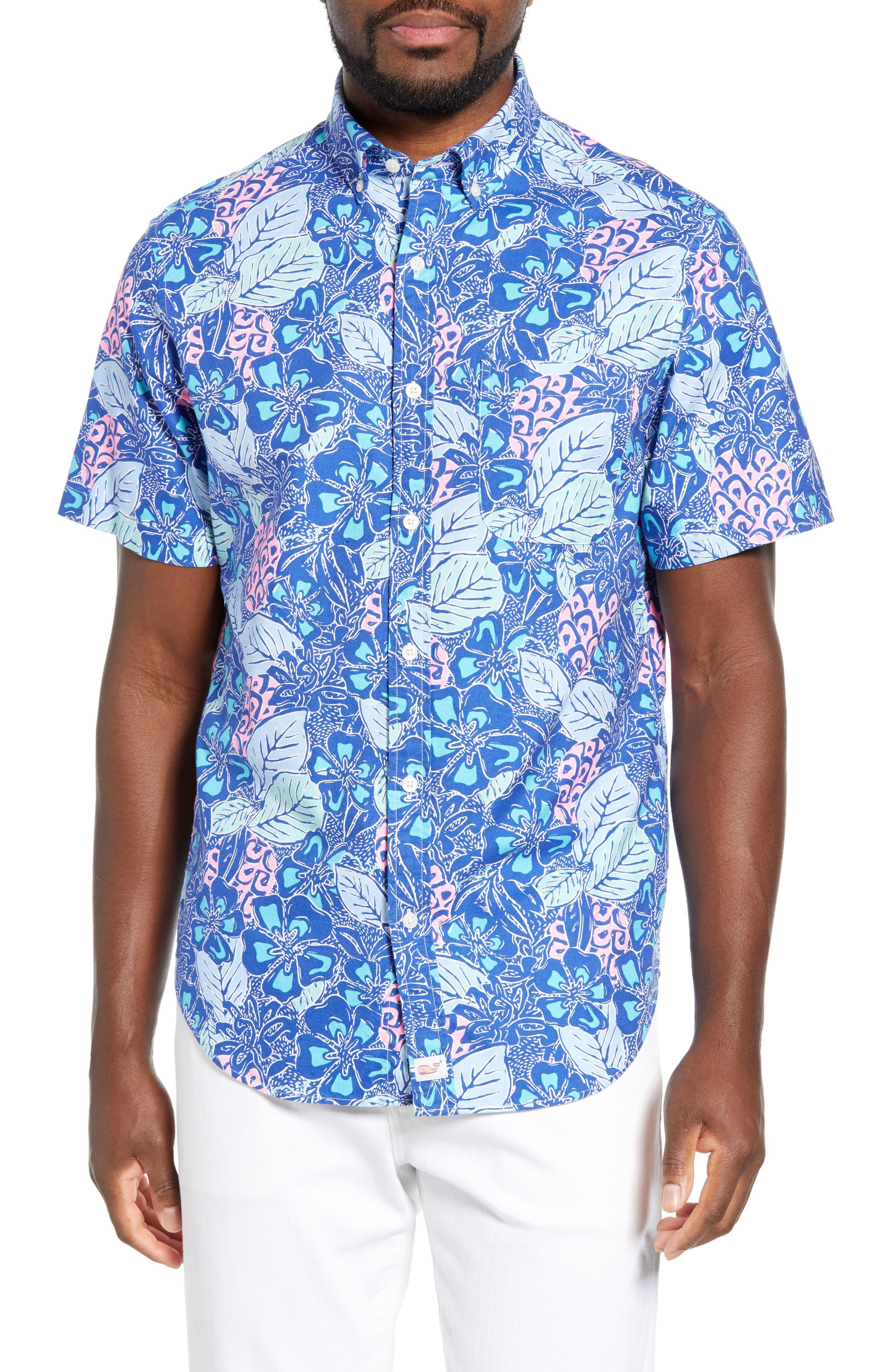 VINEYARD VINES Murray Slim Fit Pineapple Print Sport Shirt, Main, color, ROYAL OCEAN