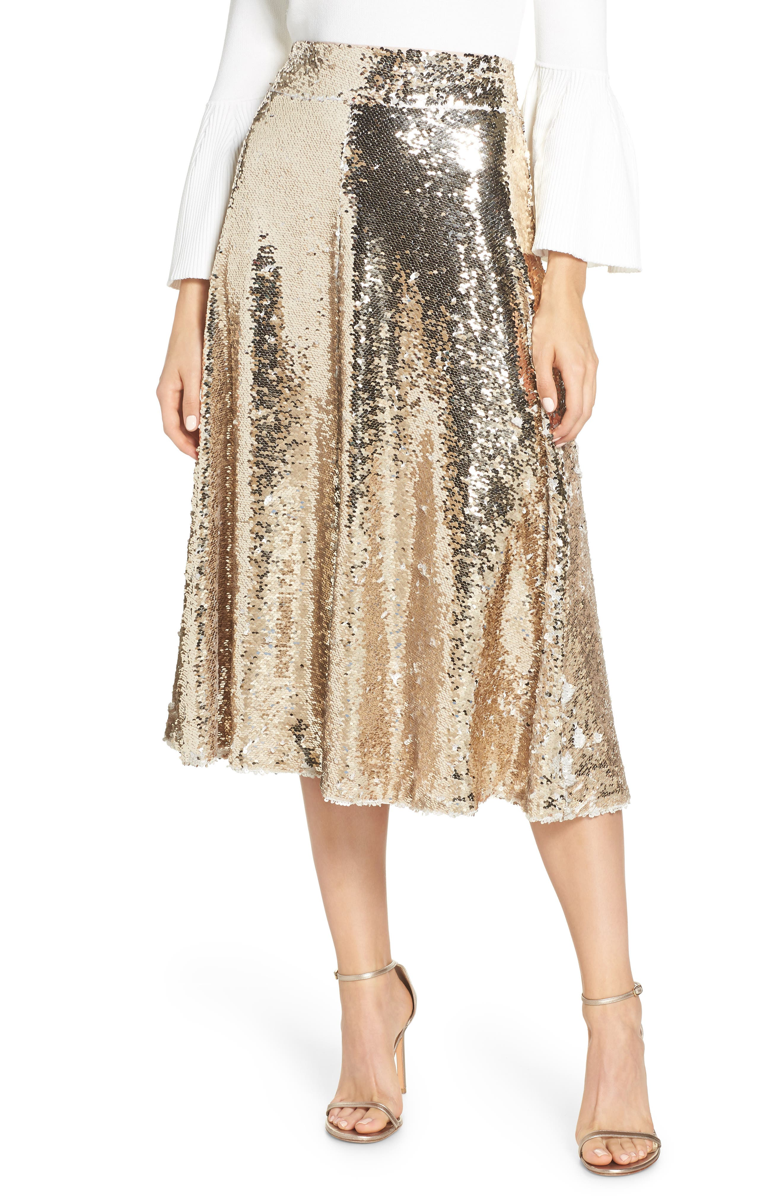 Sequin Embellished A-Line Skirt,                             Main thumbnail 1, color,                             GOLD