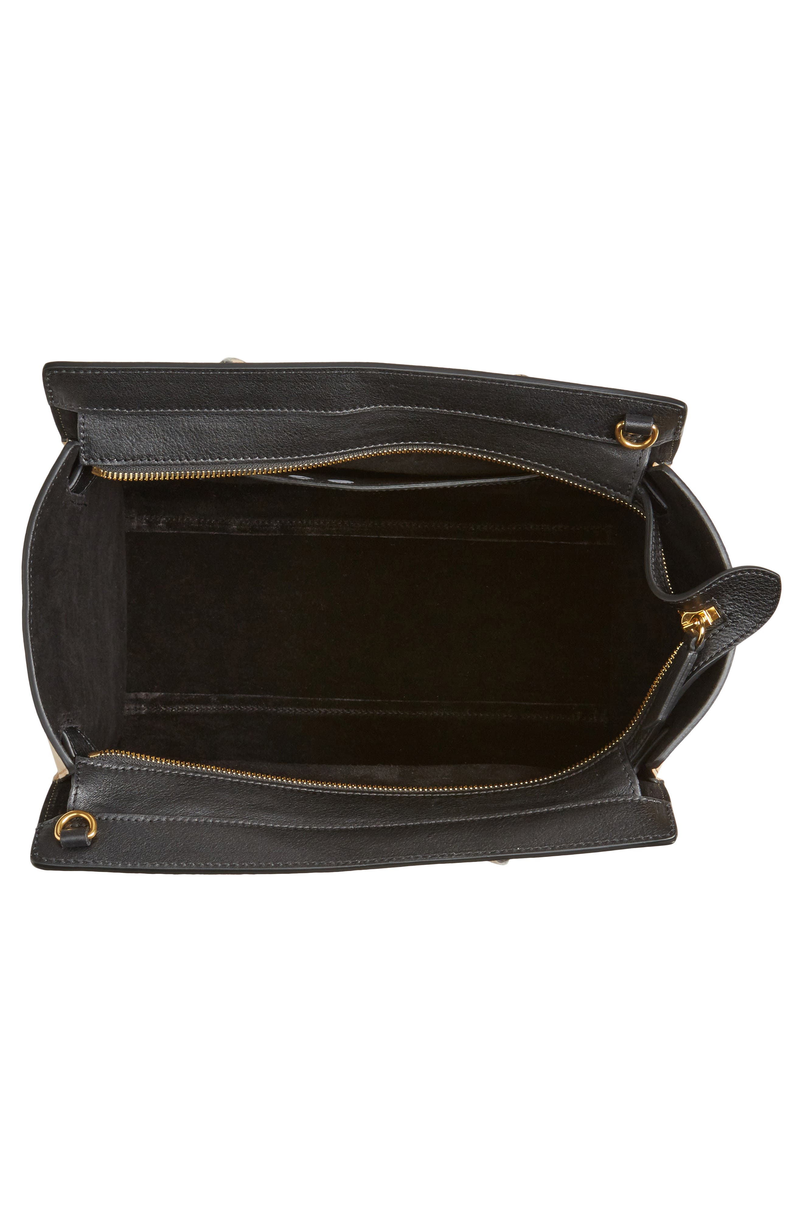 Small Bayswater Leather Satchel,                             Alternate thumbnail 4, color,                             010