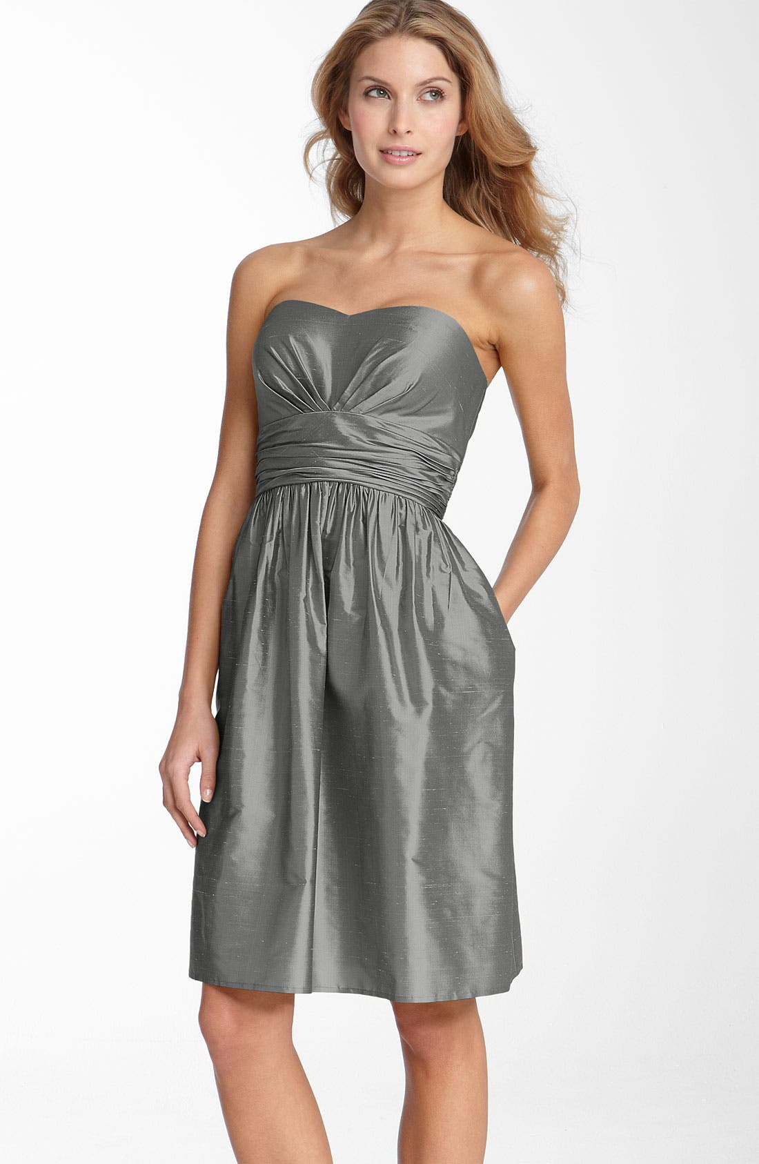 ELIZA J,                             Silk Shantung Dress,                             Main thumbnail 1, color,                             010