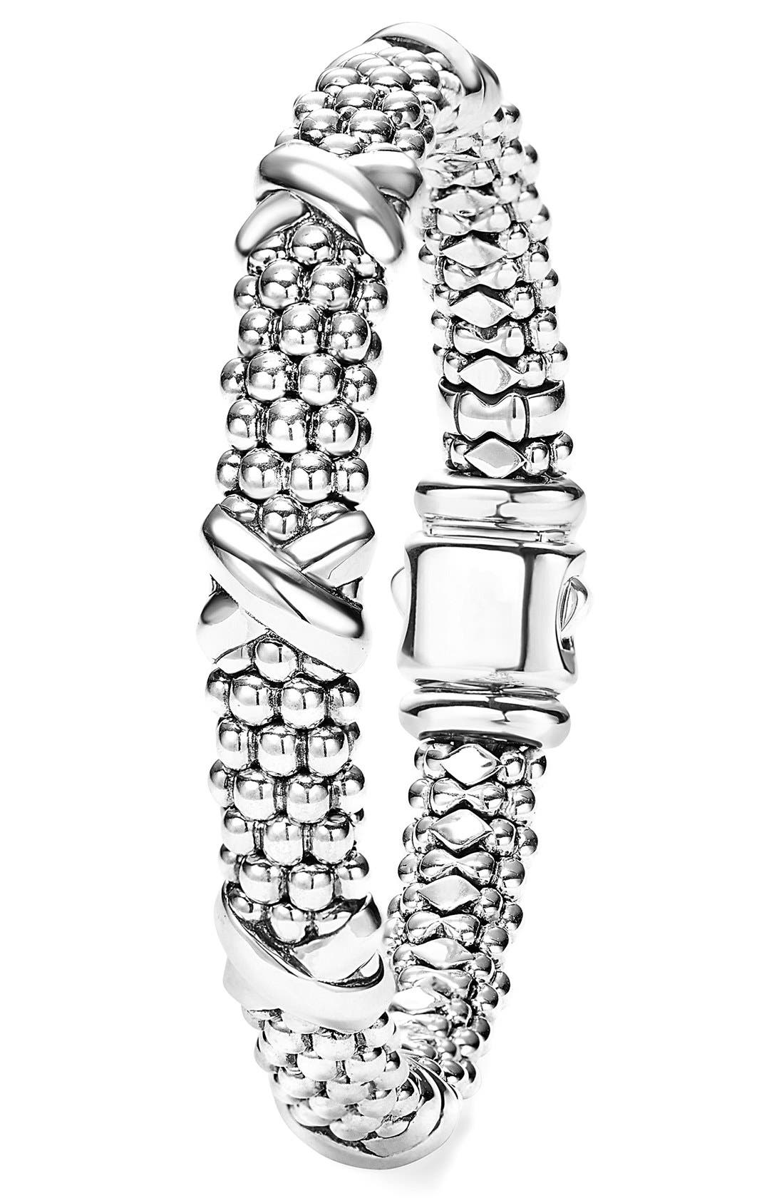 'Signature Caviar' Oval Rope Bracelet,                             Alternate thumbnail 3, color,                             STERLING SILVER