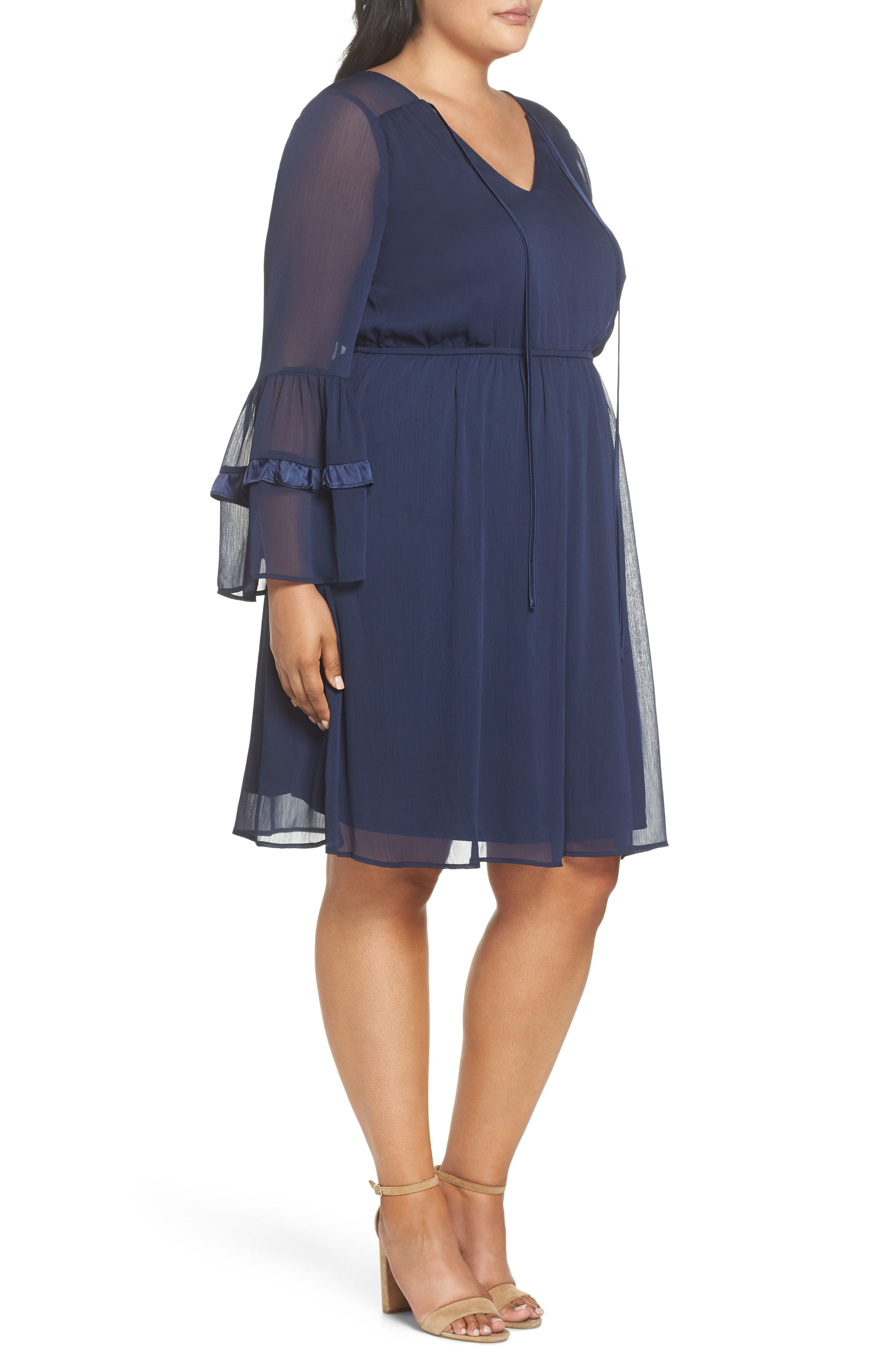 Satin Trim Chiffon Dress,                             Alternate thumbnail 3, color,                             NAVY