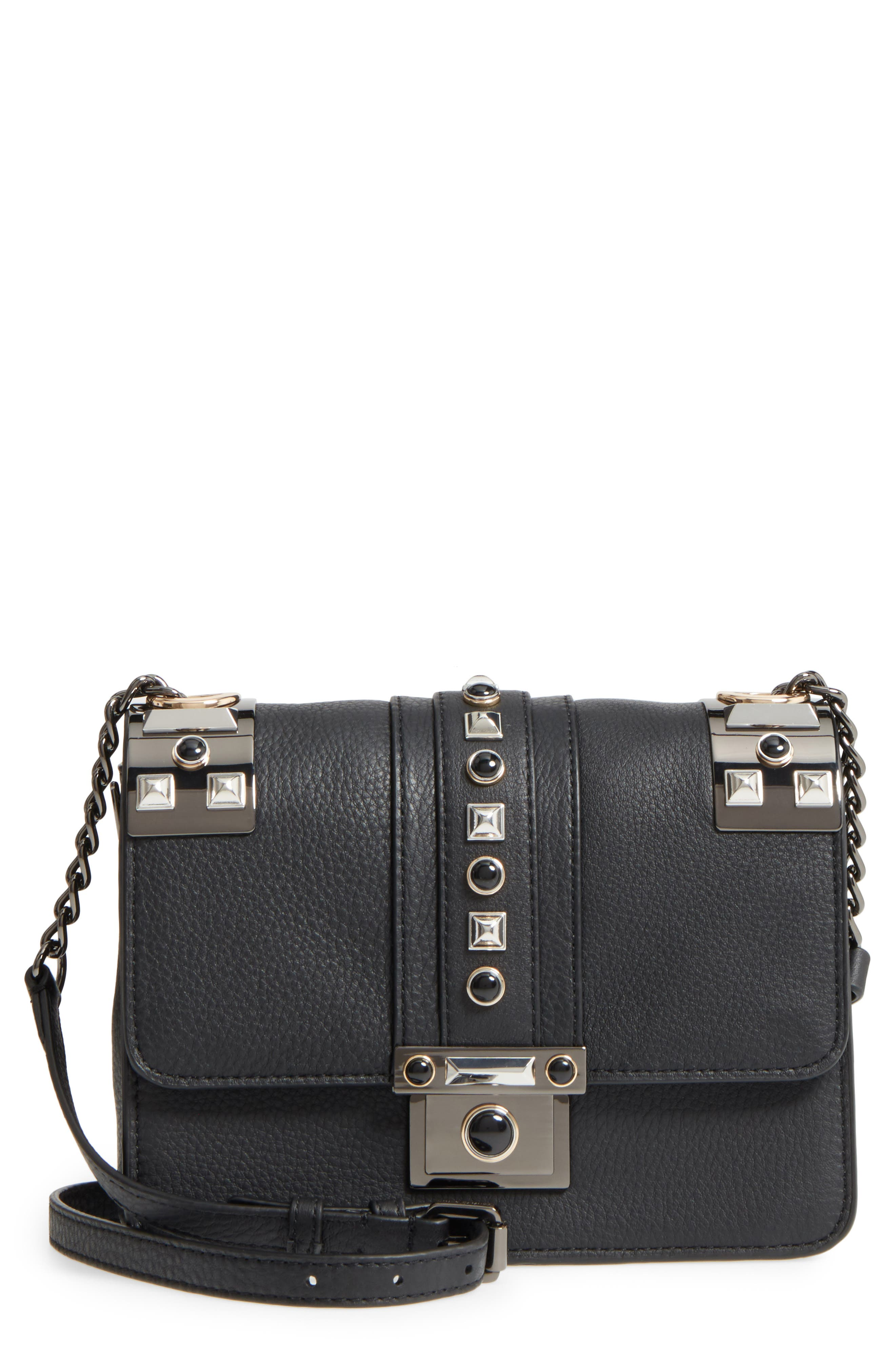 Bitty Studded Leather Shoulder Bag,                             Main thumbnail 1, color,                             002