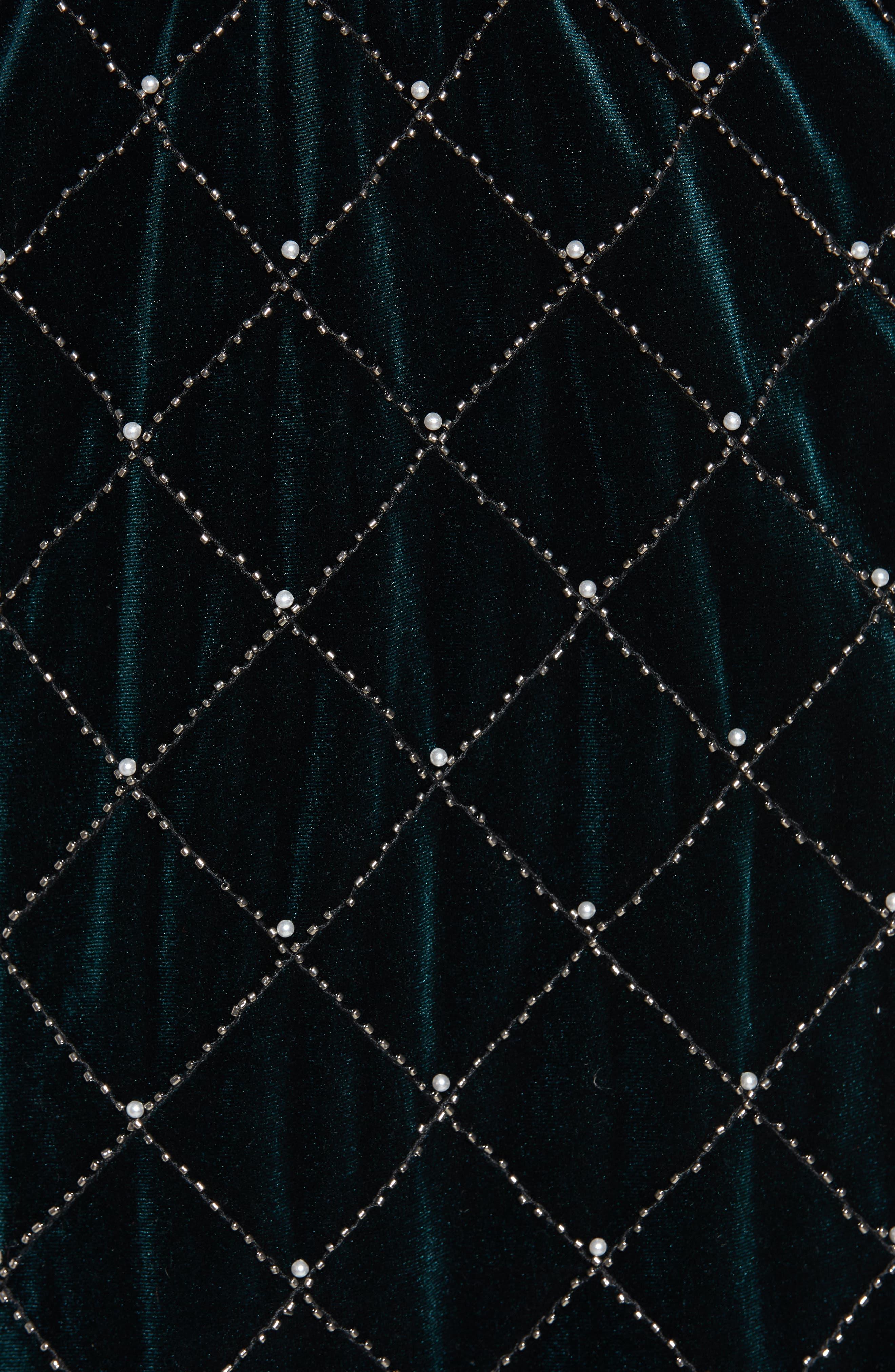 Beaded Velvet Miniskirt,                             Alternate thumbnail 5, color,                             GREEN