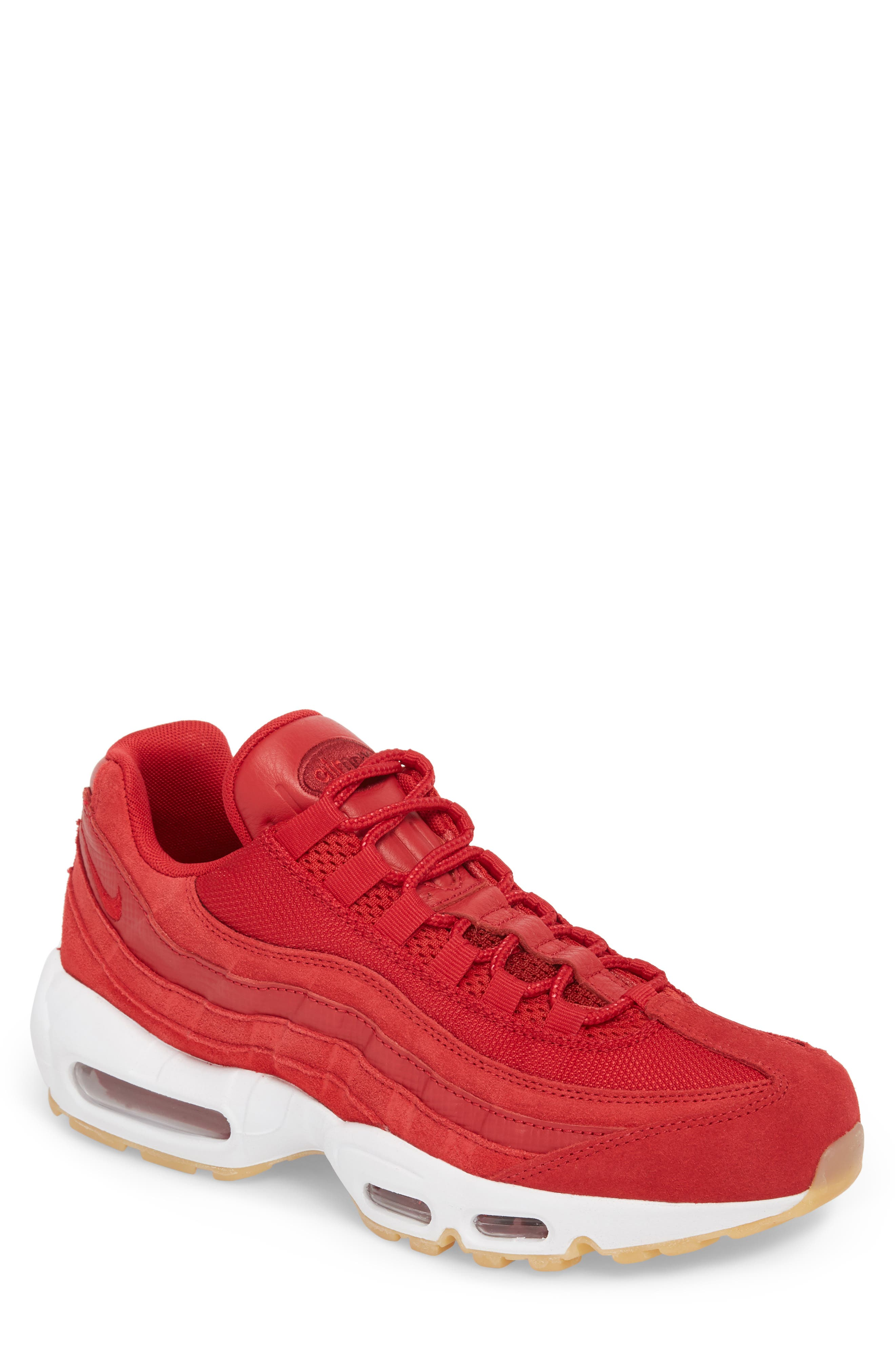 Air Max 95 Sneaker,                             Main thumbnail 1, color,                             GYM RED/ TEAM RED/ WHITE