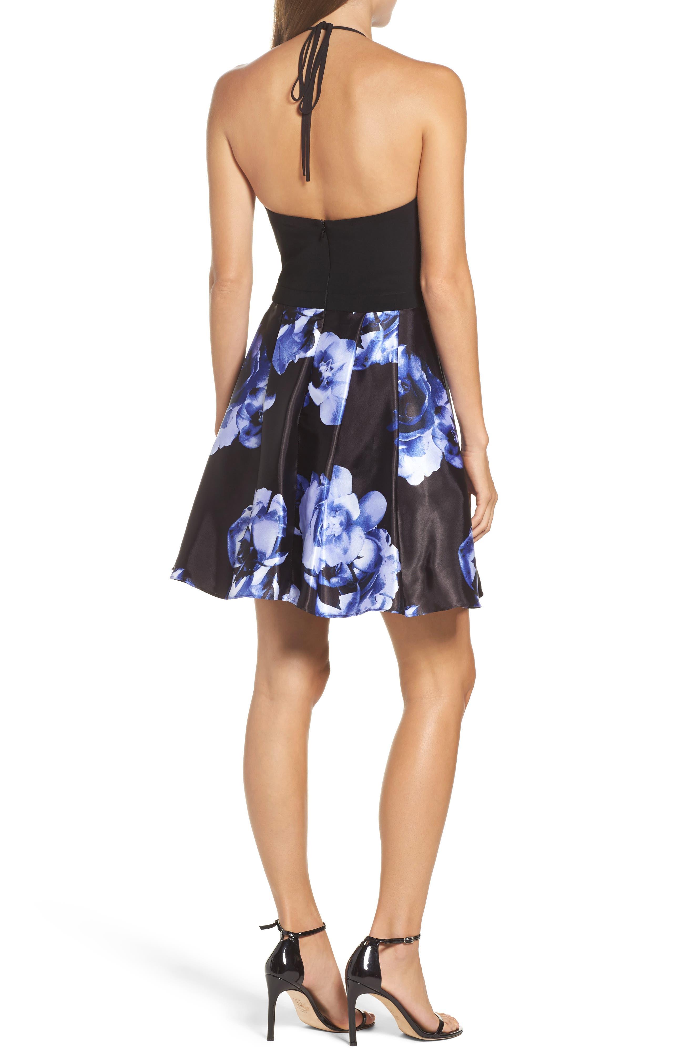 Floral Skirt Halter Skater Dress,                             Alternate thumbnail 2, color,