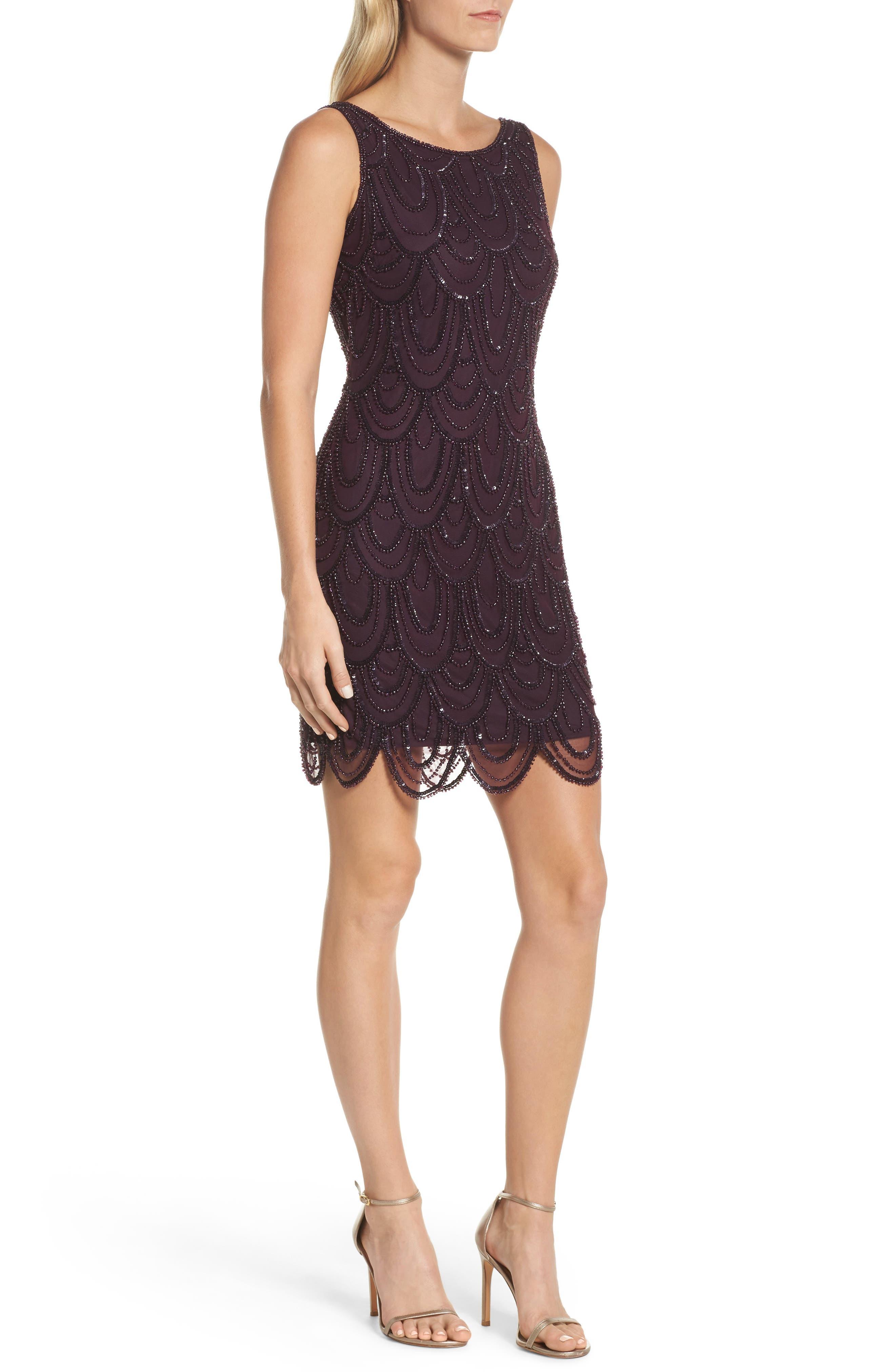 Embellished Mesh Sheath Dress,                             Alternate thumbnail 45, color,