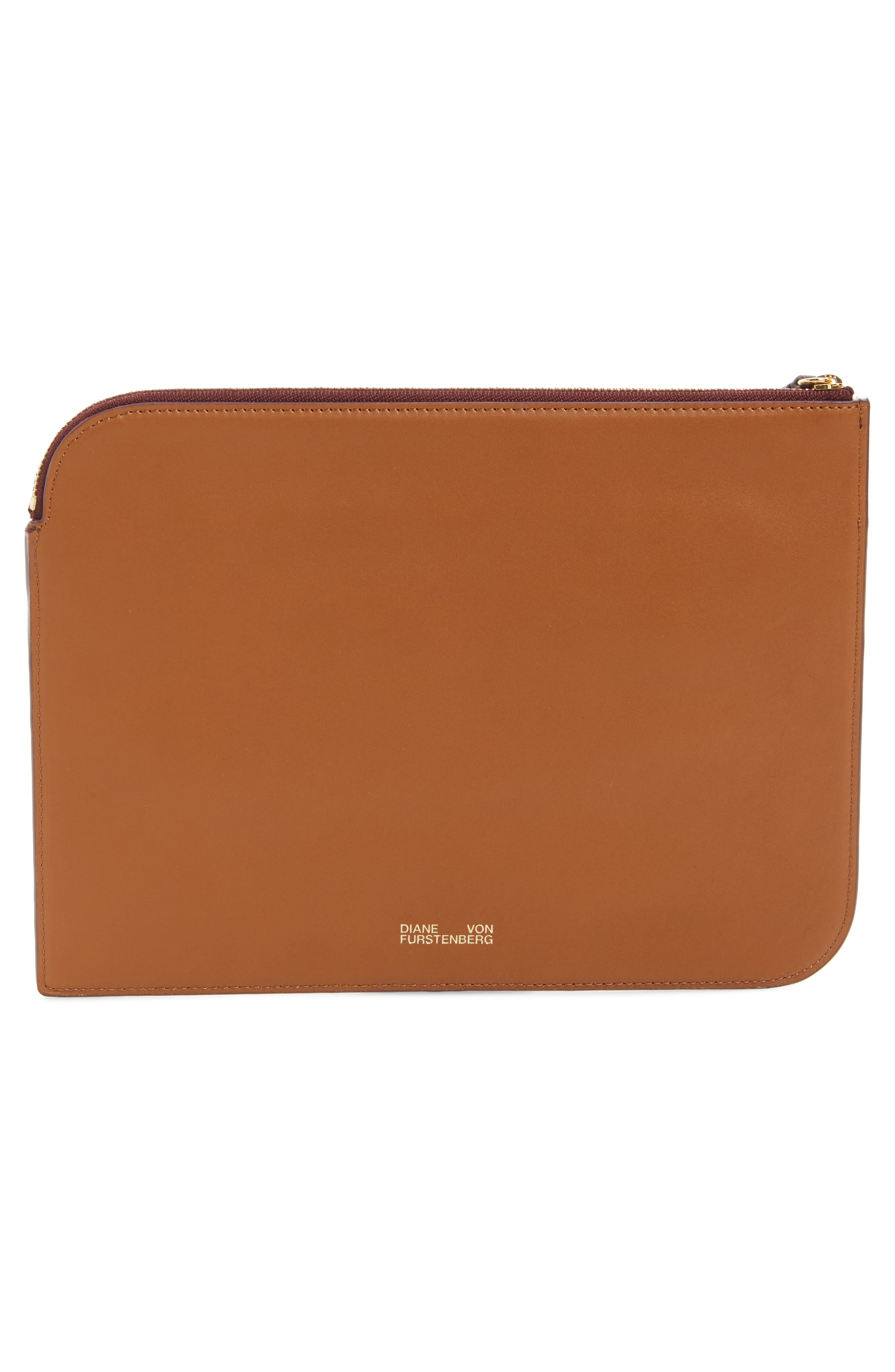 Large Colorblock Leather Zip Pouch,                             Alternate thumbnail 6, color,
