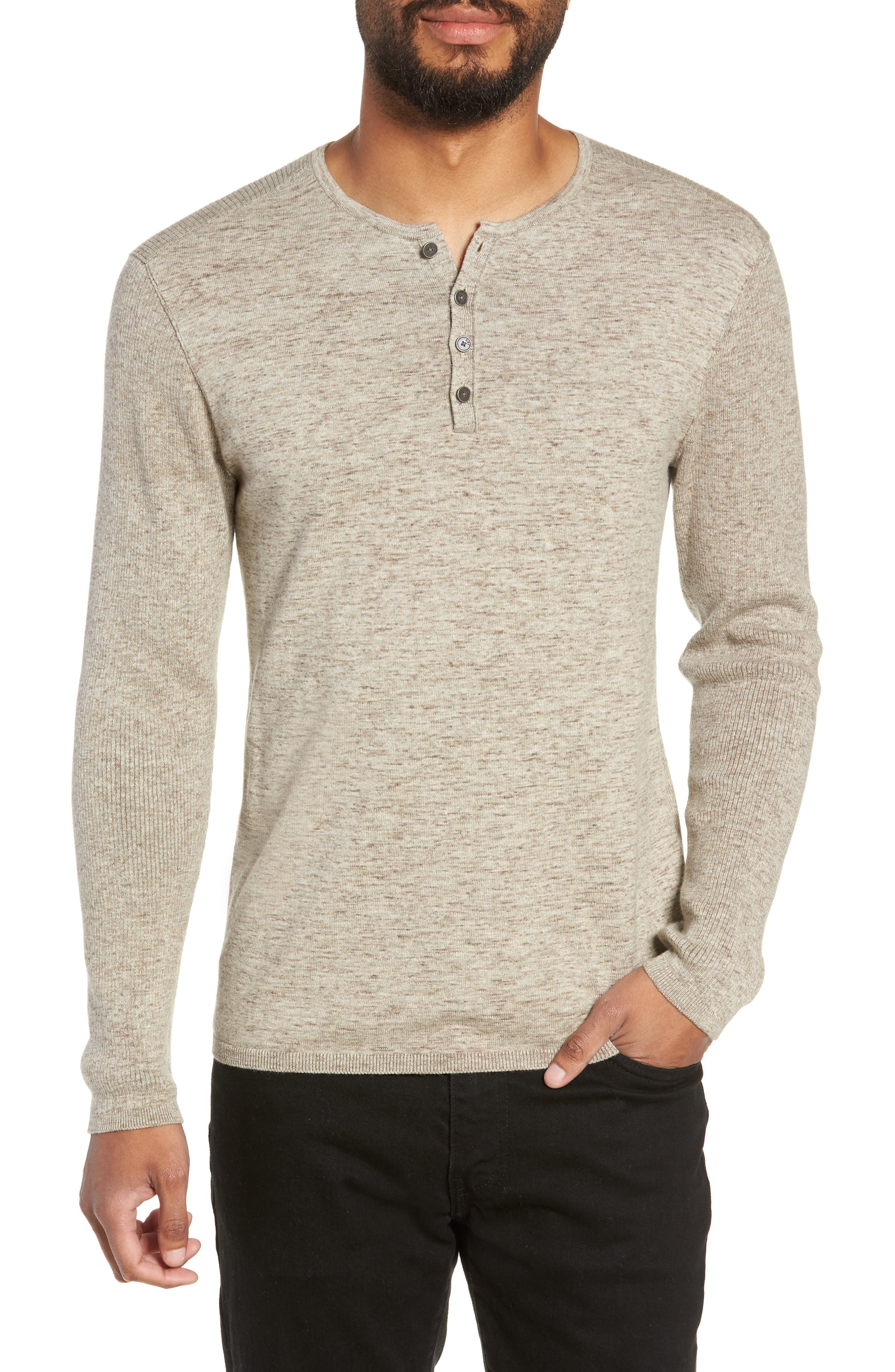 Cotton & Wool Henley Sweater,                             Main thumbnail 1, color,                             RYE