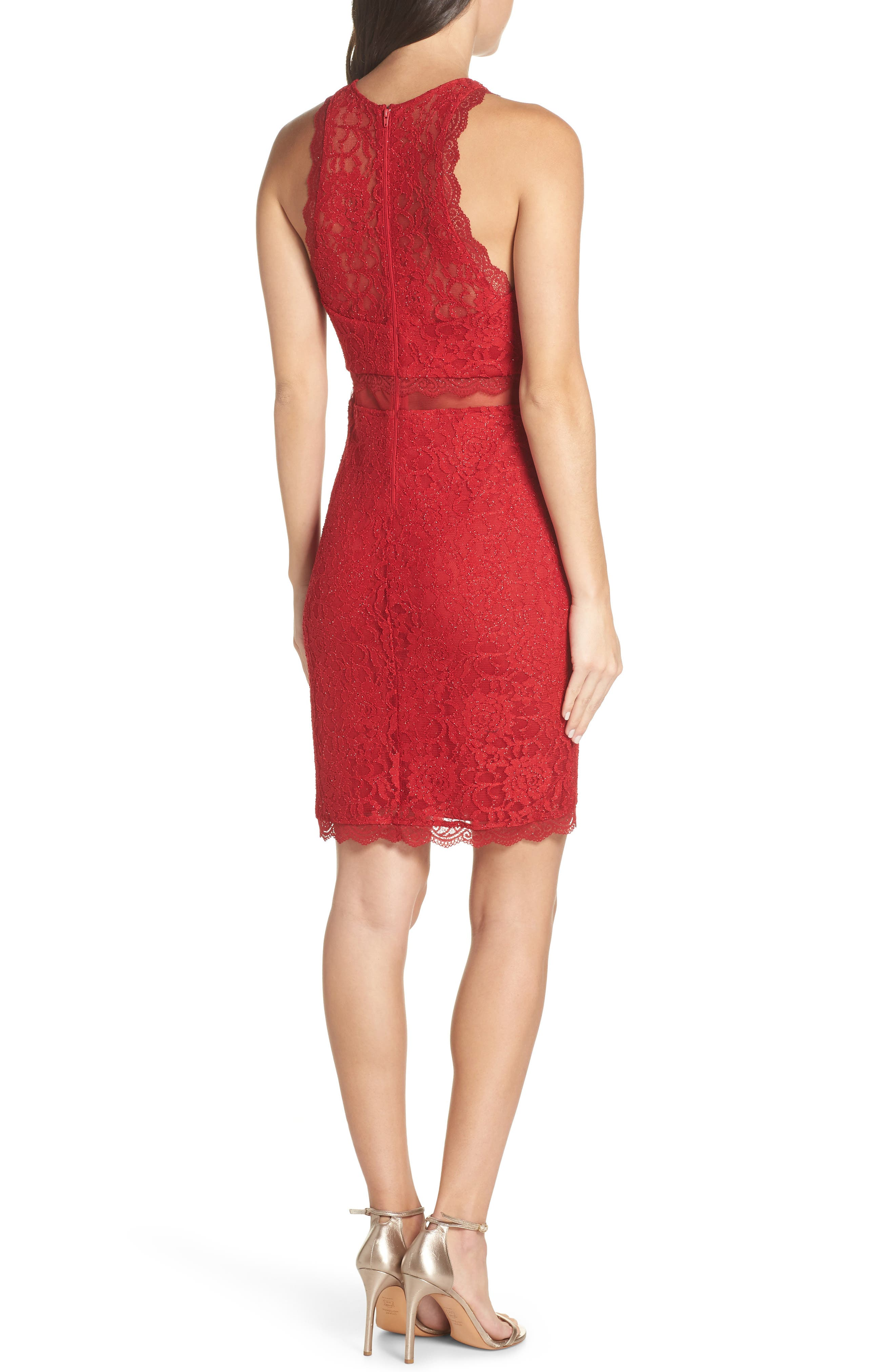 Sleeveless Glitter Lace Sheath Dress,                             Alternate thumbnail 2, color,                             RE RED