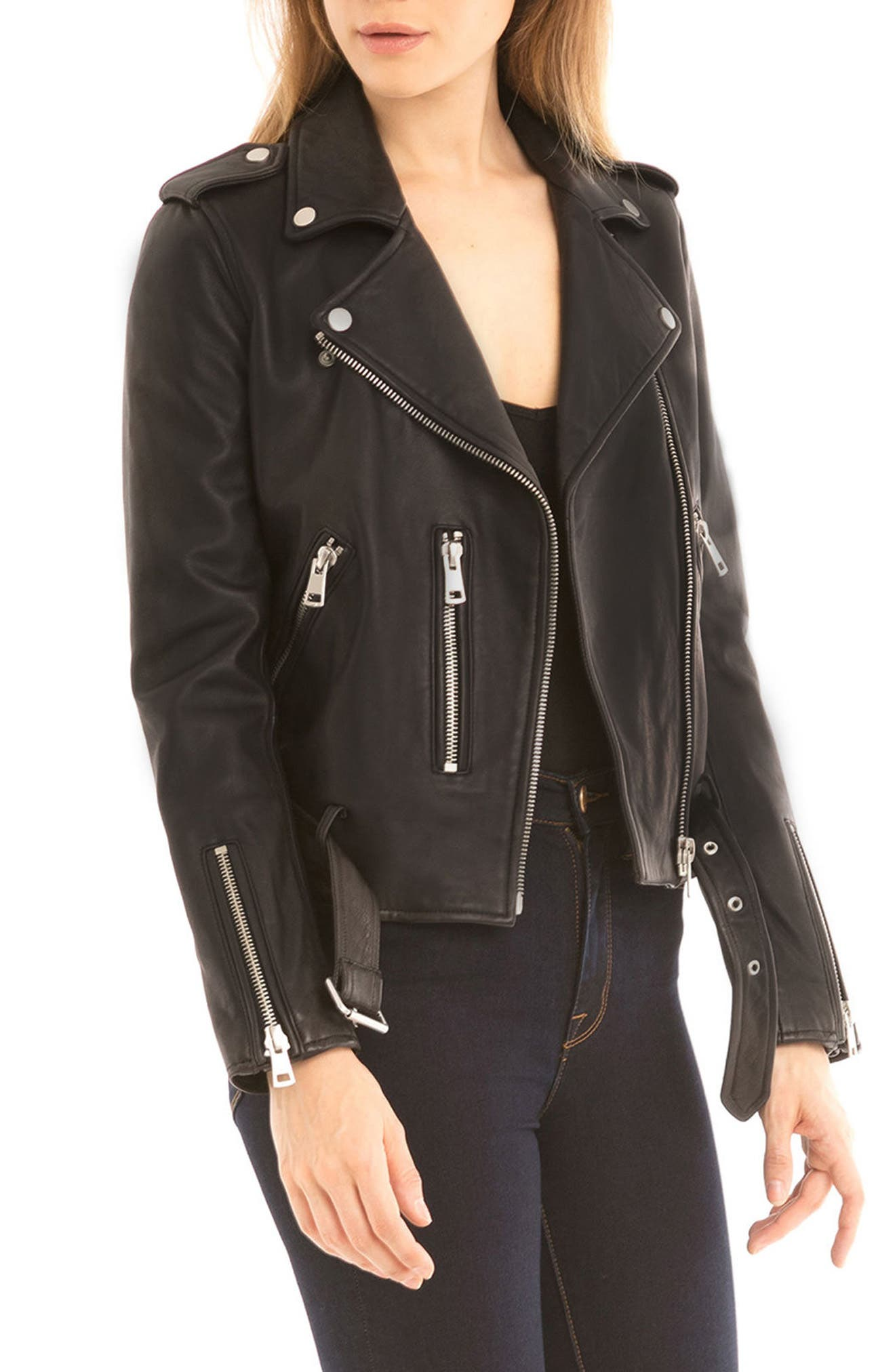 NYC  Washed Leather Biker Jacket,                             Alternate thumbnail 4, color,                             001