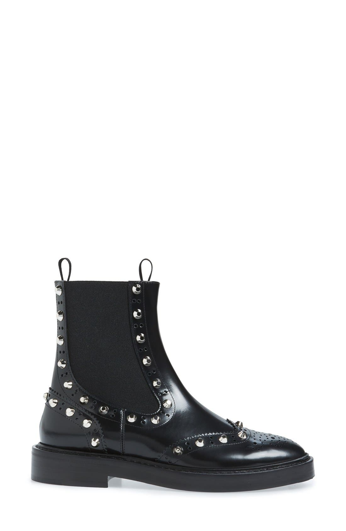 Studded Chelsea Boot,                             Alternate thumbnail 4, color,                             001
