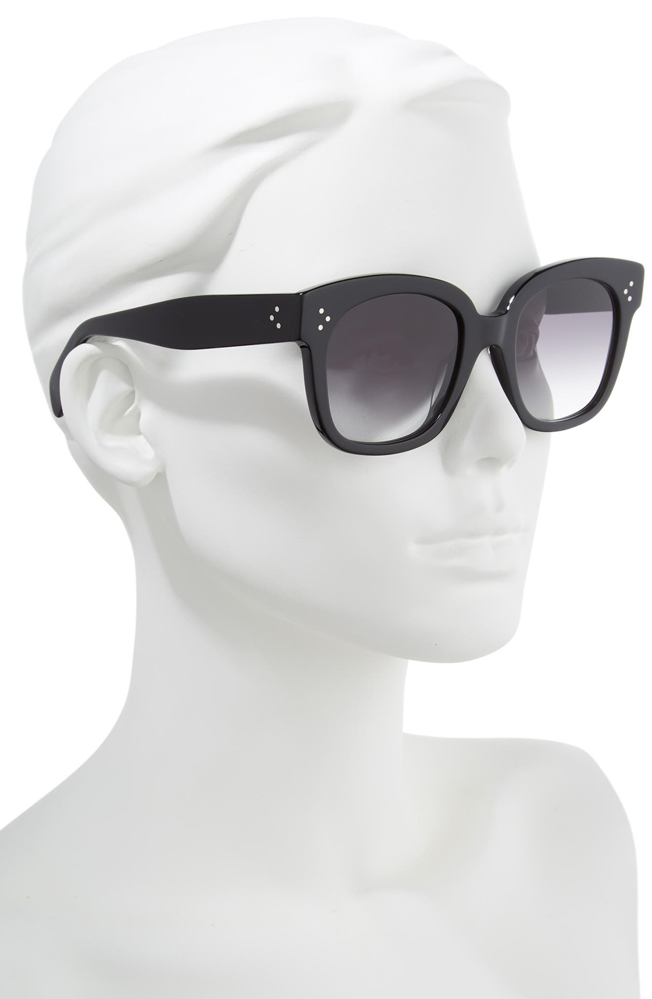 54mm Square Sunglasses,                             Alternate thumbnail 3, color,                             BLACK/ SMOKE