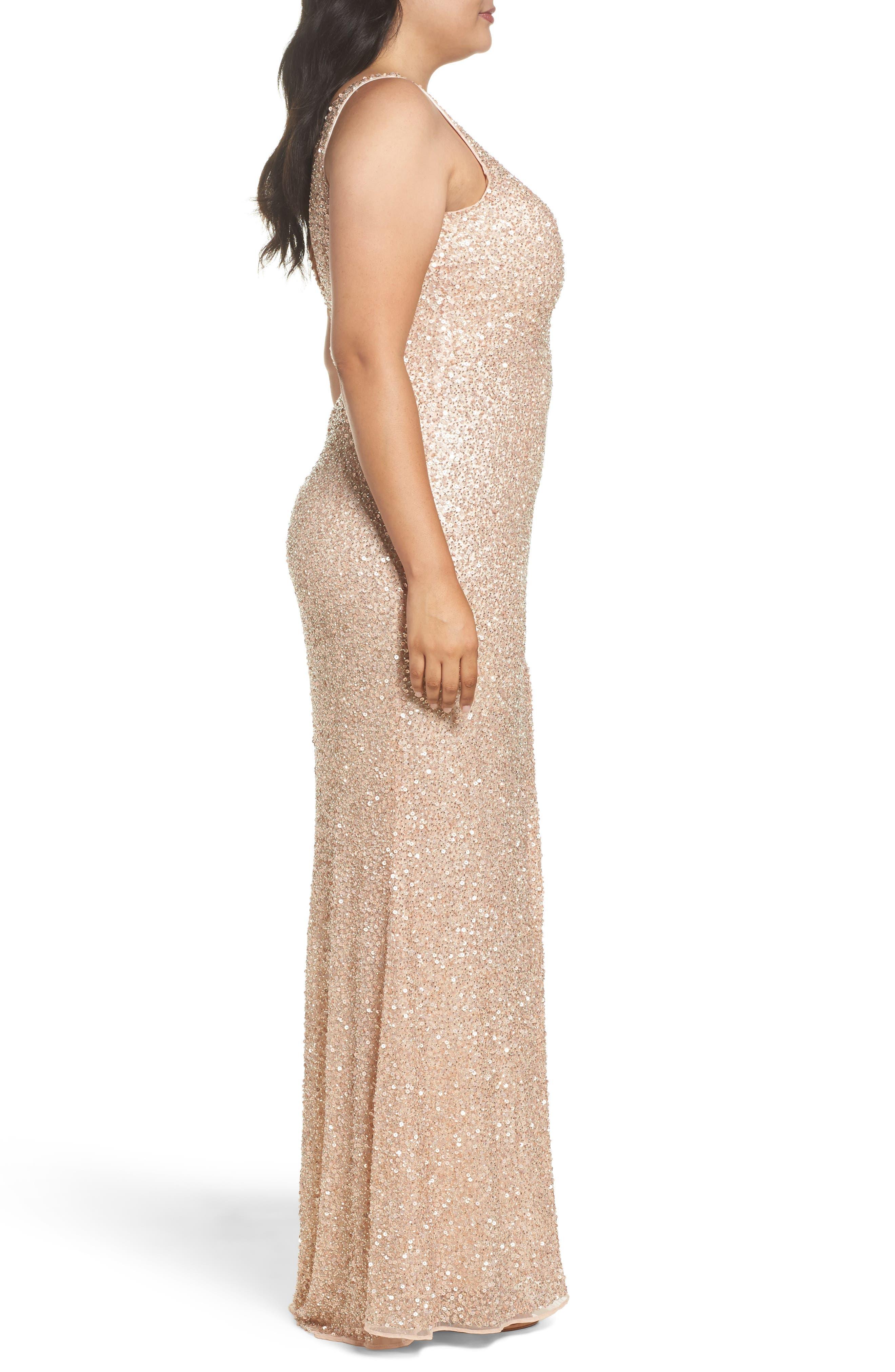 Front Slit Sequin Gown,                             Alternate thumbnail 6, color,