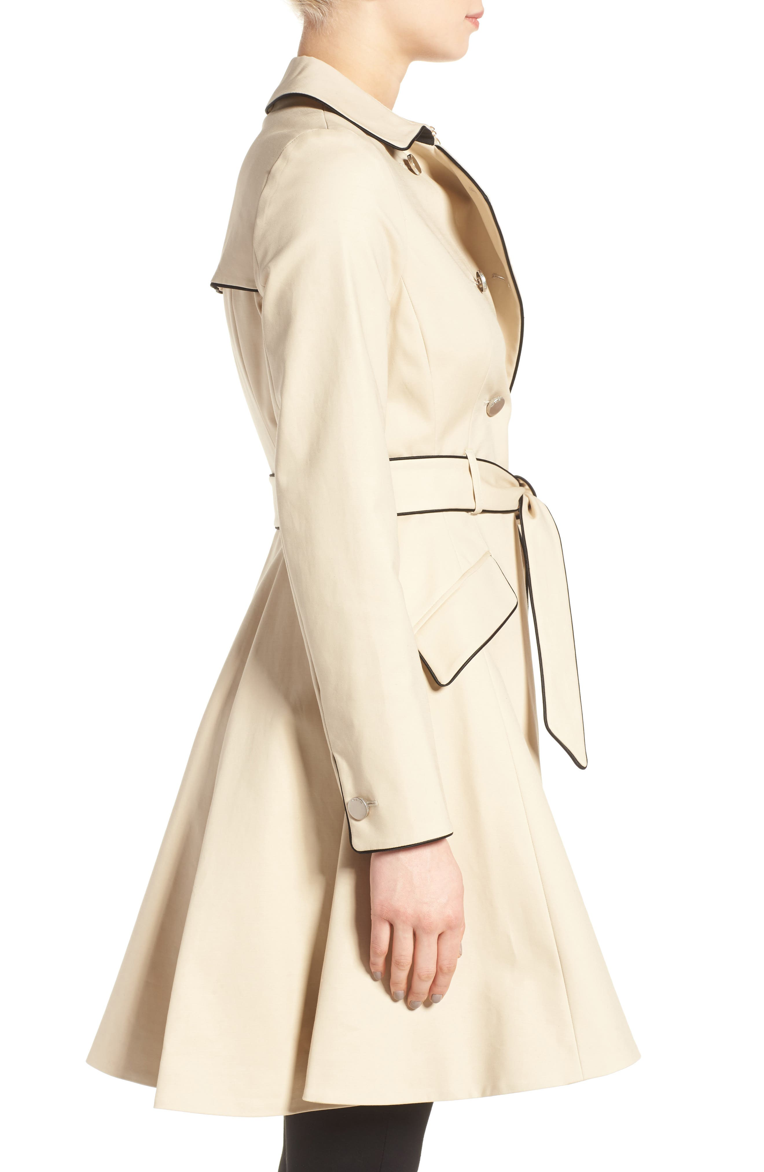 Piped Belted A-Line Macintosh Coat,                             Alternate thumbnail 3, color,