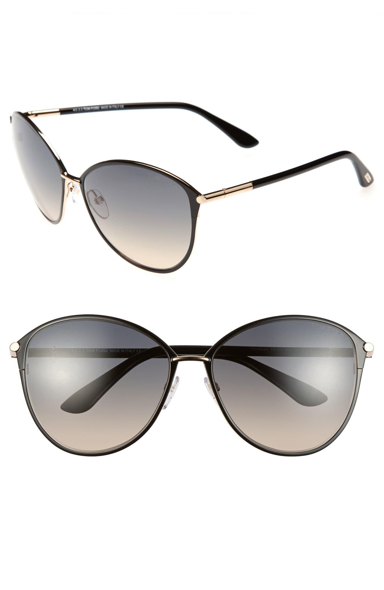 Penelope 59mm Gradient Cat Eye Sunglasses,                             Main thumbnail 1, color,                             SHINY ROSE GOLD/ BLACK