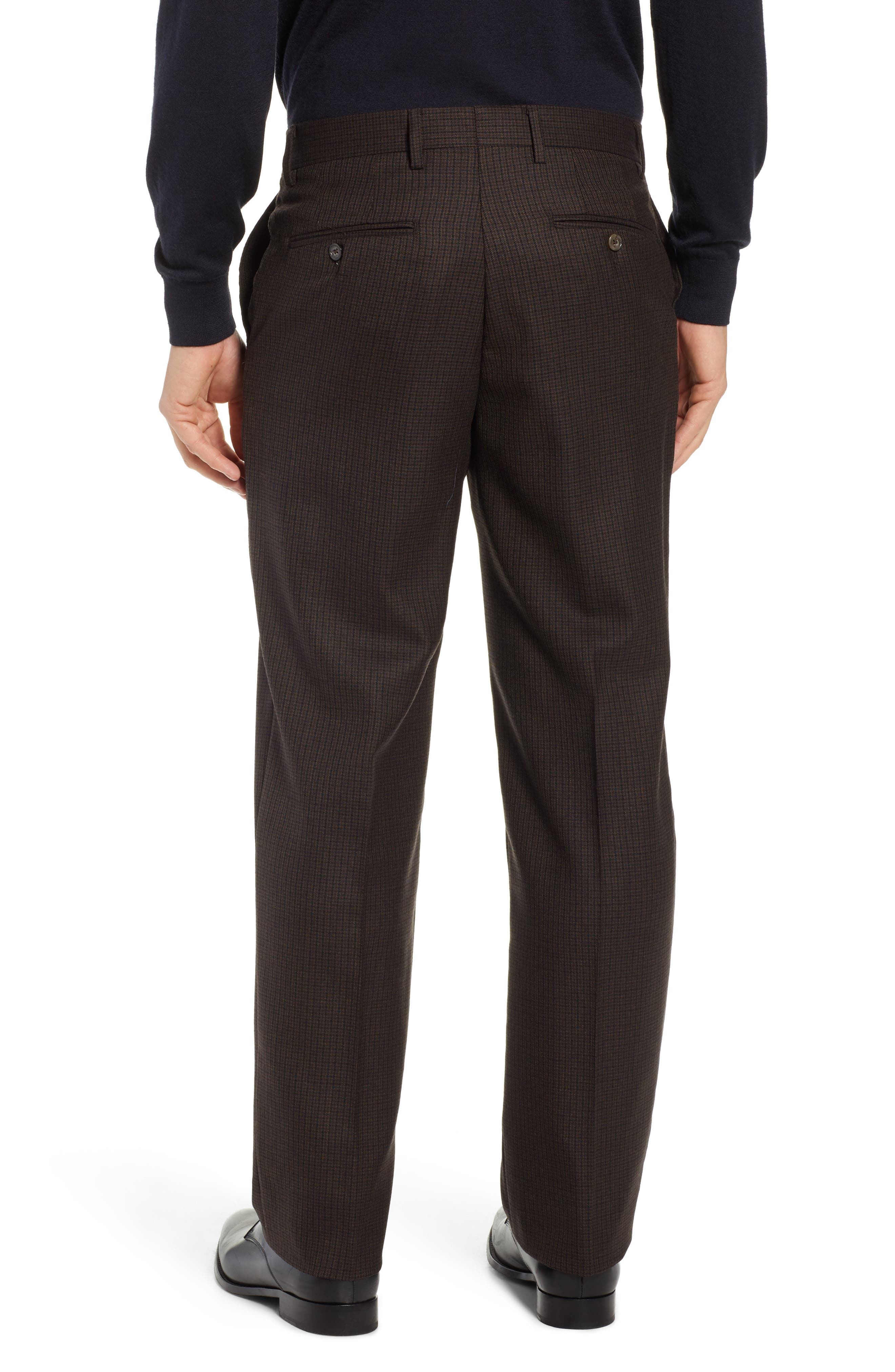 Manufacturing Flat Front Check Wool Trousers,                             Alternate thumbnail 2, color,                             BLACK