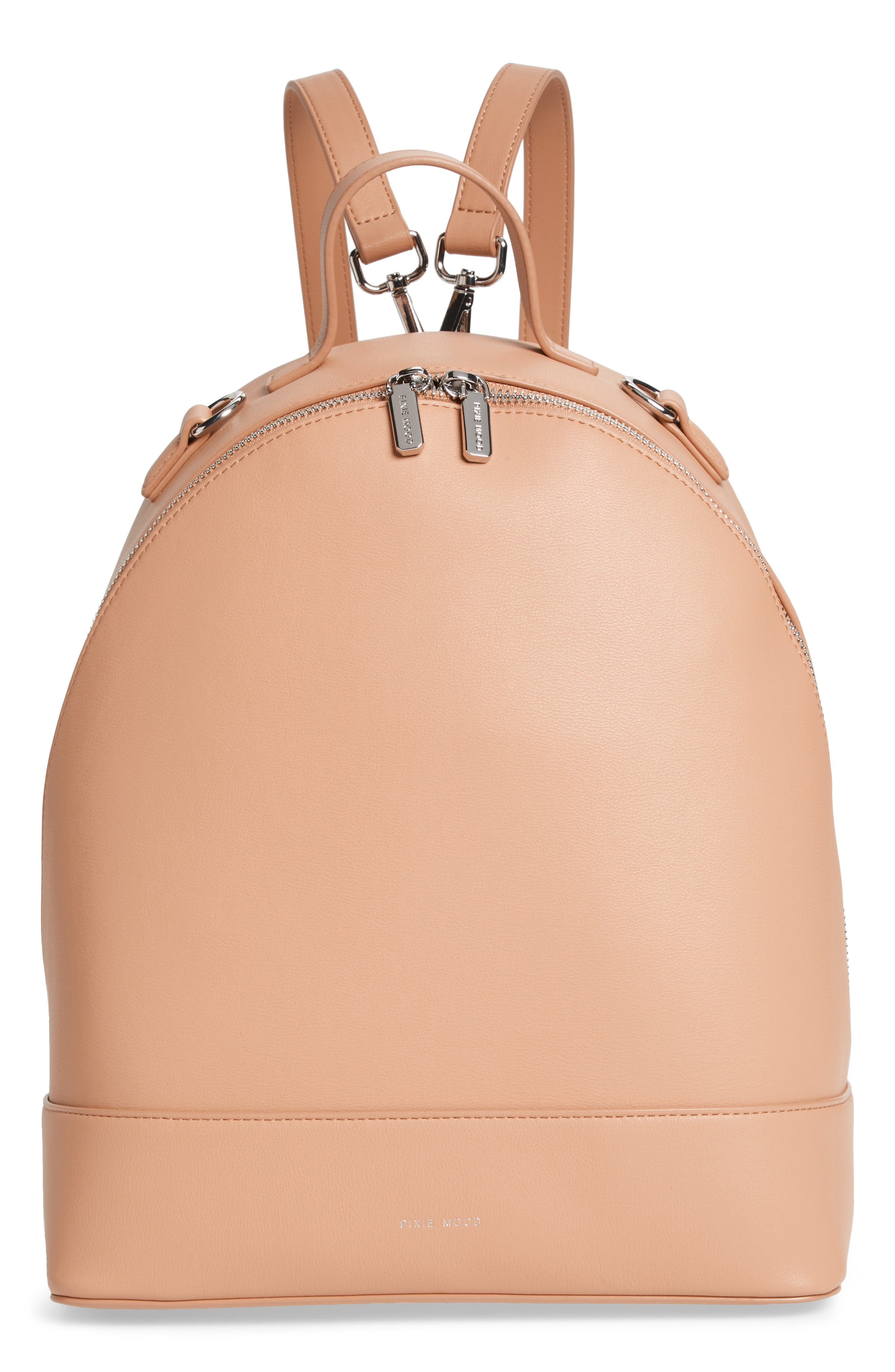 Large Cora Faux Leather Convertible Backpack,                             Main thumbnail 1, color,                             PRALINE