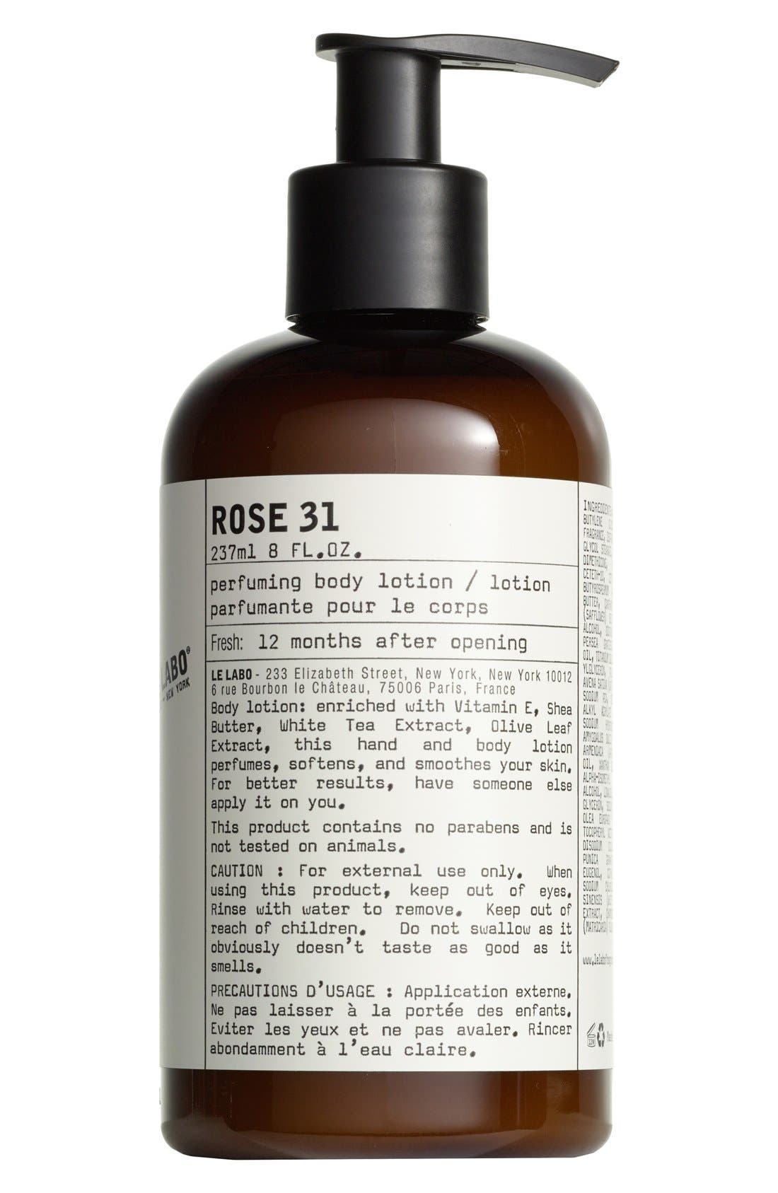 Rose 31 Hand & Body Lotion,                             Main thumbnail 1, color,                             NO COLOR
