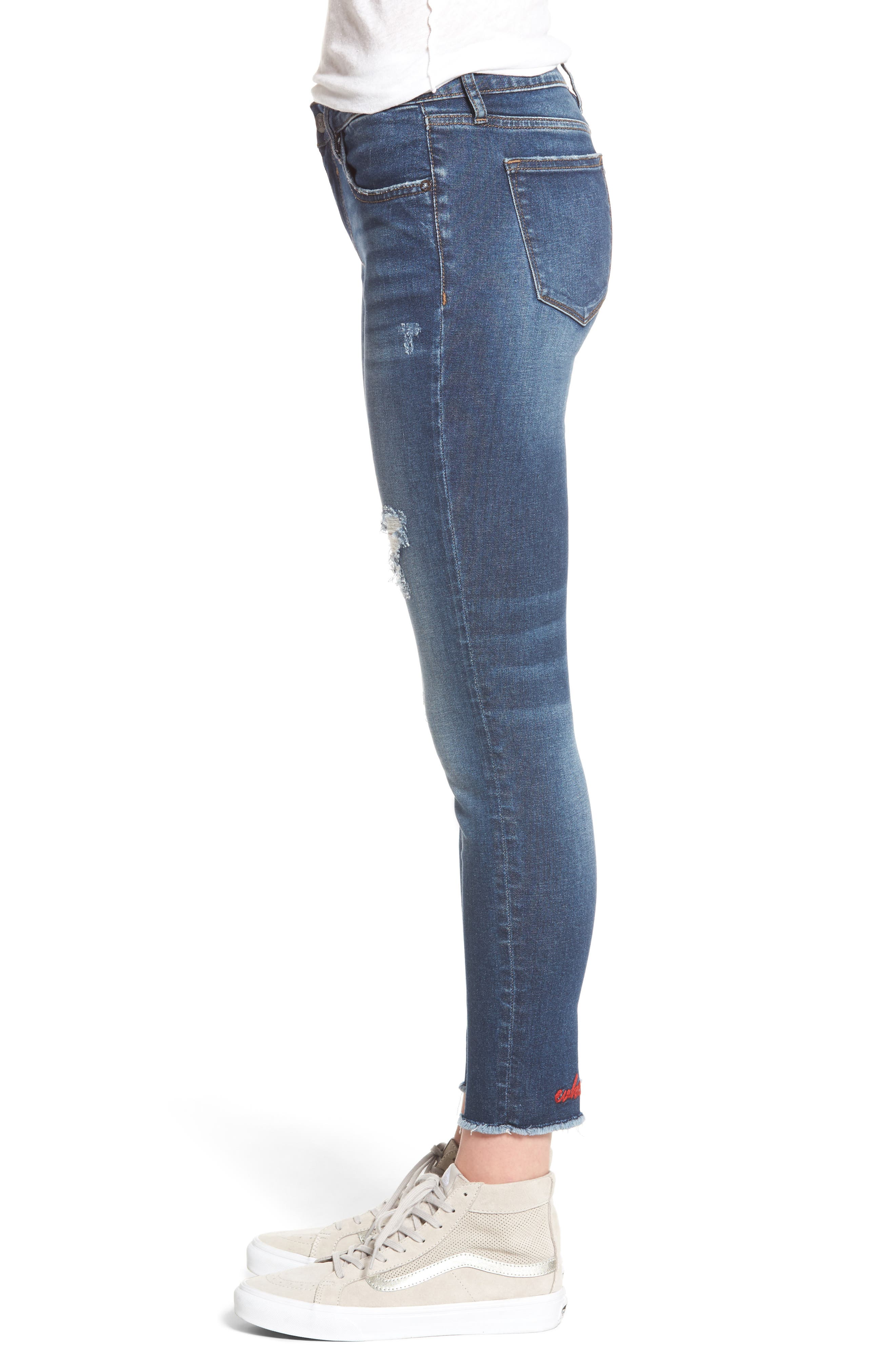 Whatever Distressed Ankle Skinny Jeans,                             Alternate thumbnail 3, color,                             426