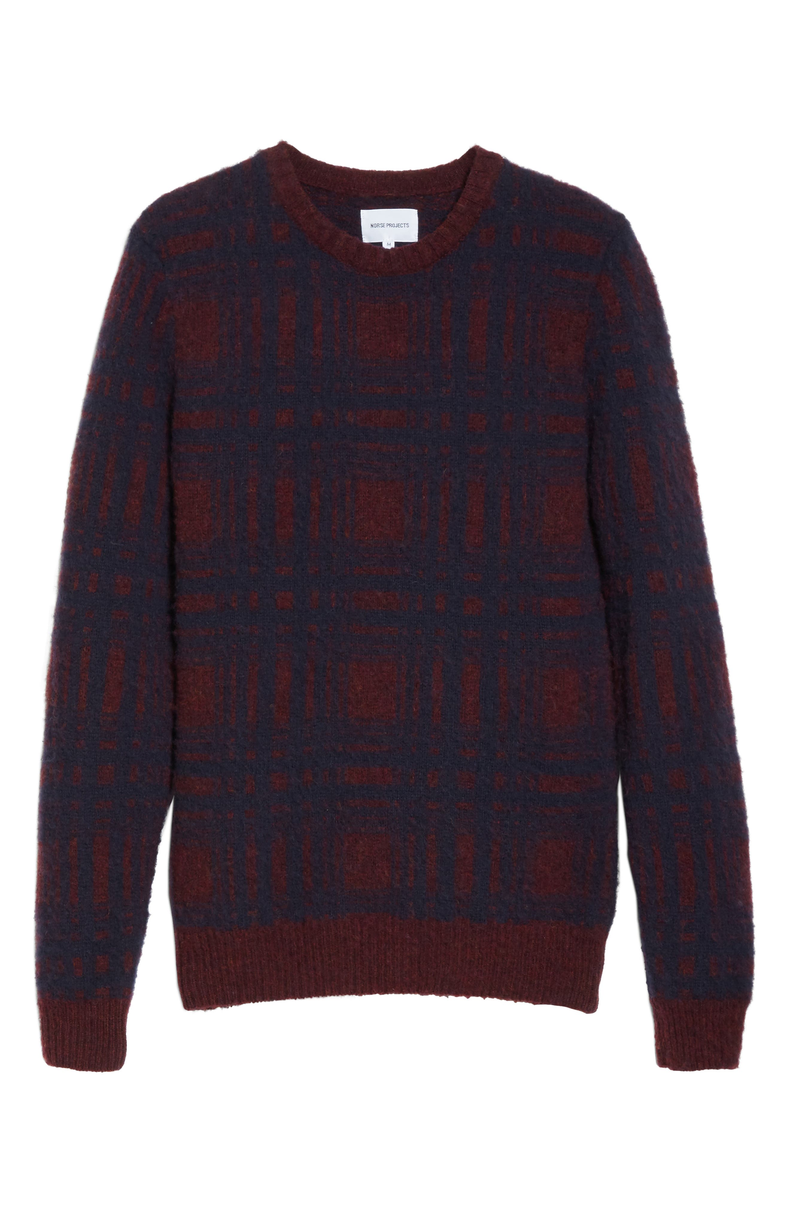 Sam Intarsia Check Wool Sweater,                             Alternate thumbnail 6, color,                             606