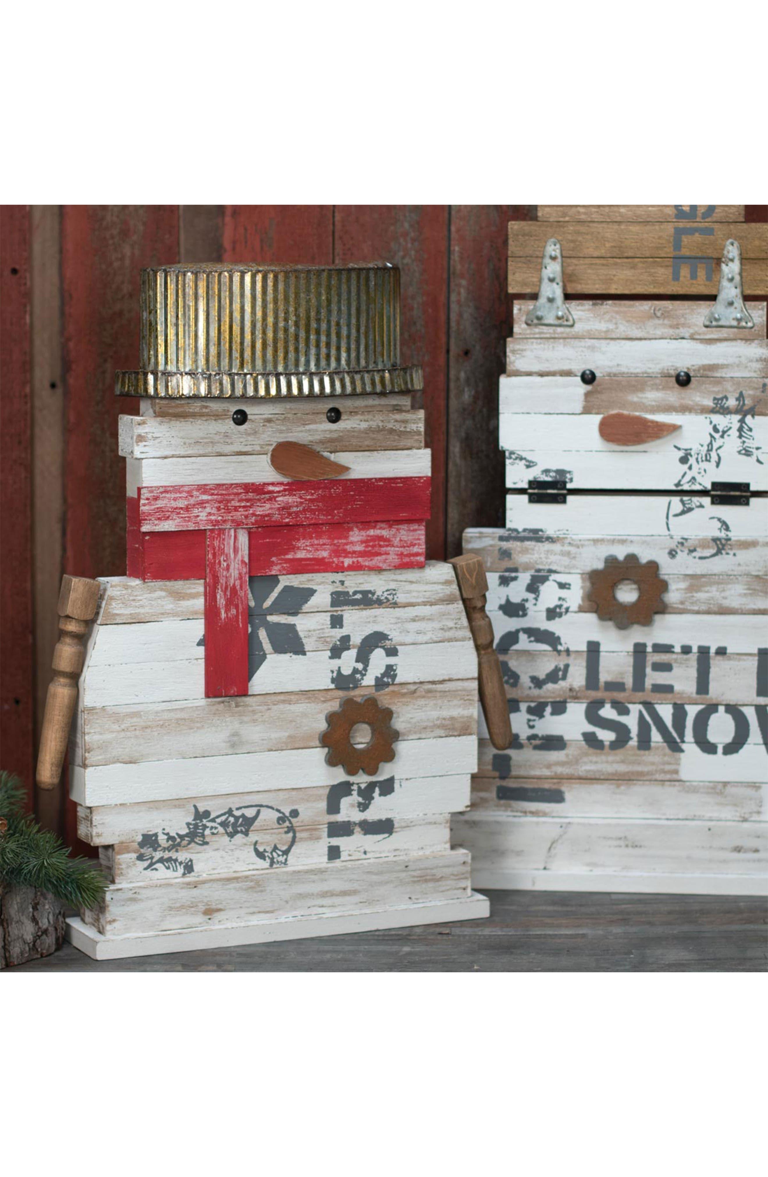 Reclaimed Snowman Decoration,                             Alternate thumbnail 2, color,                             WOOD/ METAL