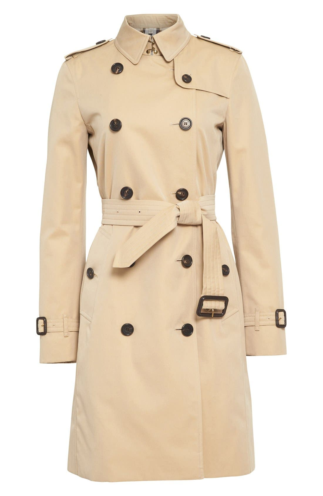 BURBERRY,                             Kensington Long Trench Coat,                             Alternate thumbnail 5, color,                             HONEY