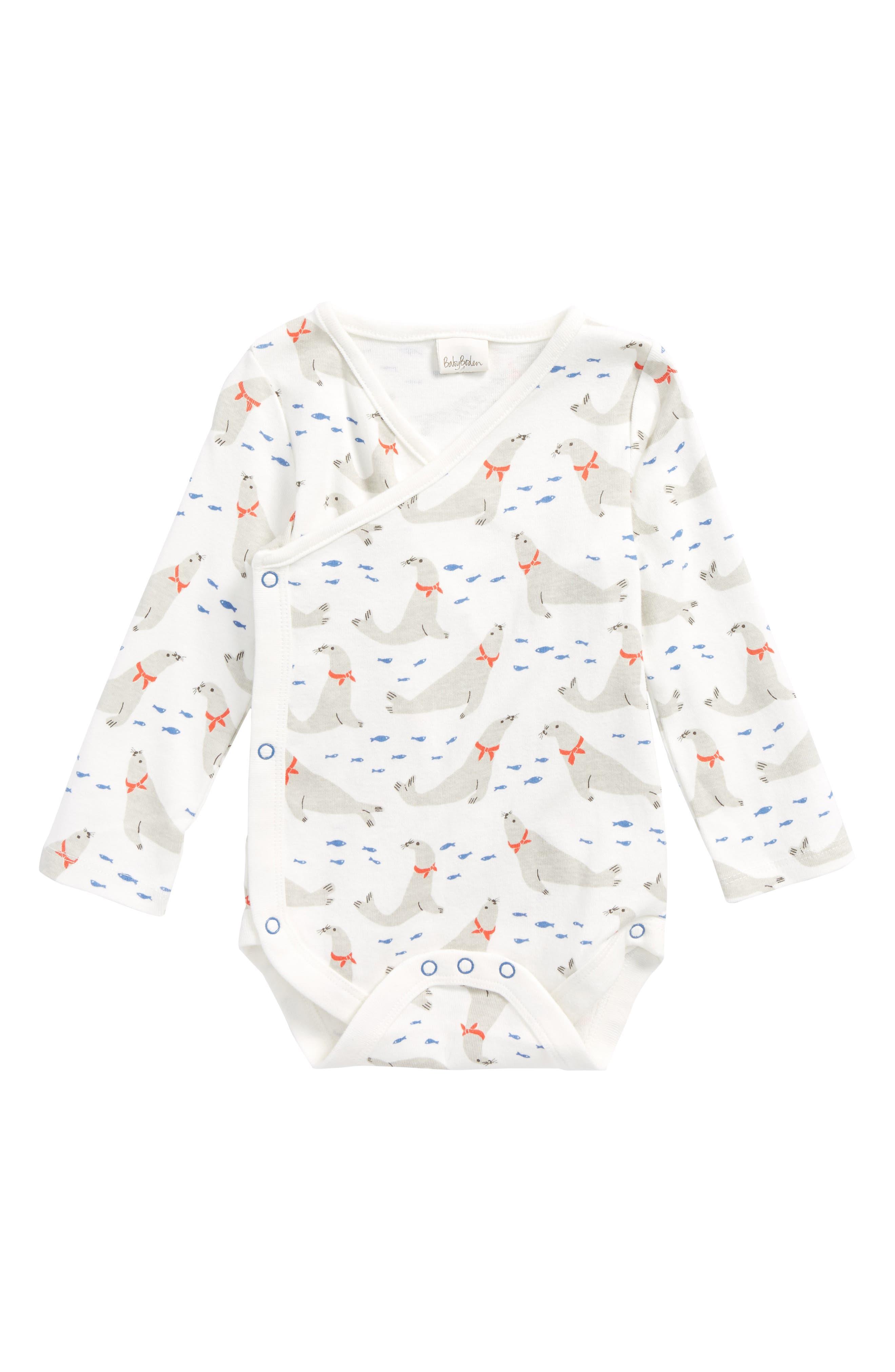 Fun Organic Cotton Wrap Bodysuit,                         Main,                         color, 904