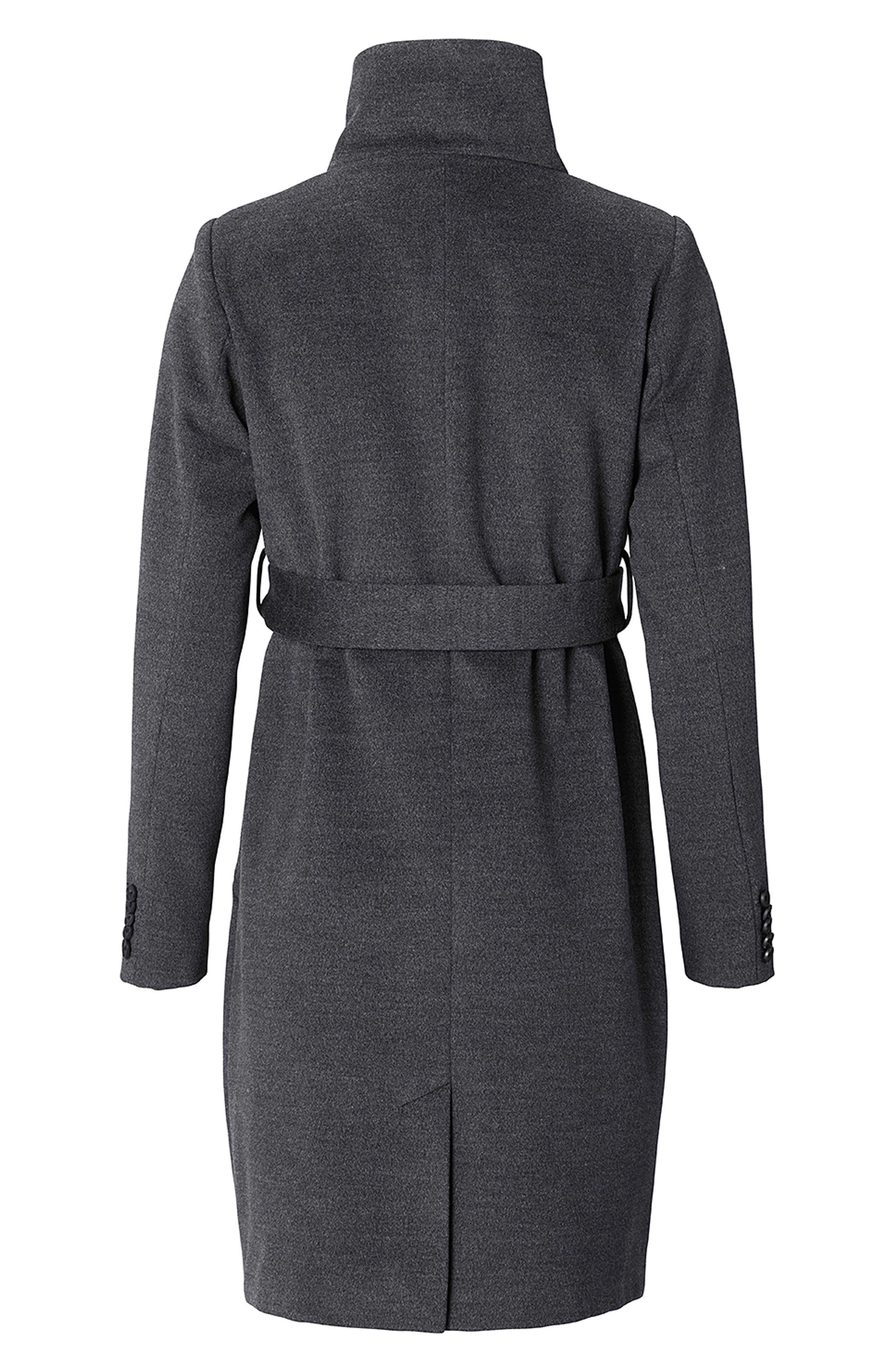Ilena 2 Maternity Coat,                             Alternate thumbnail 4, color,                             BLACK MELANGE