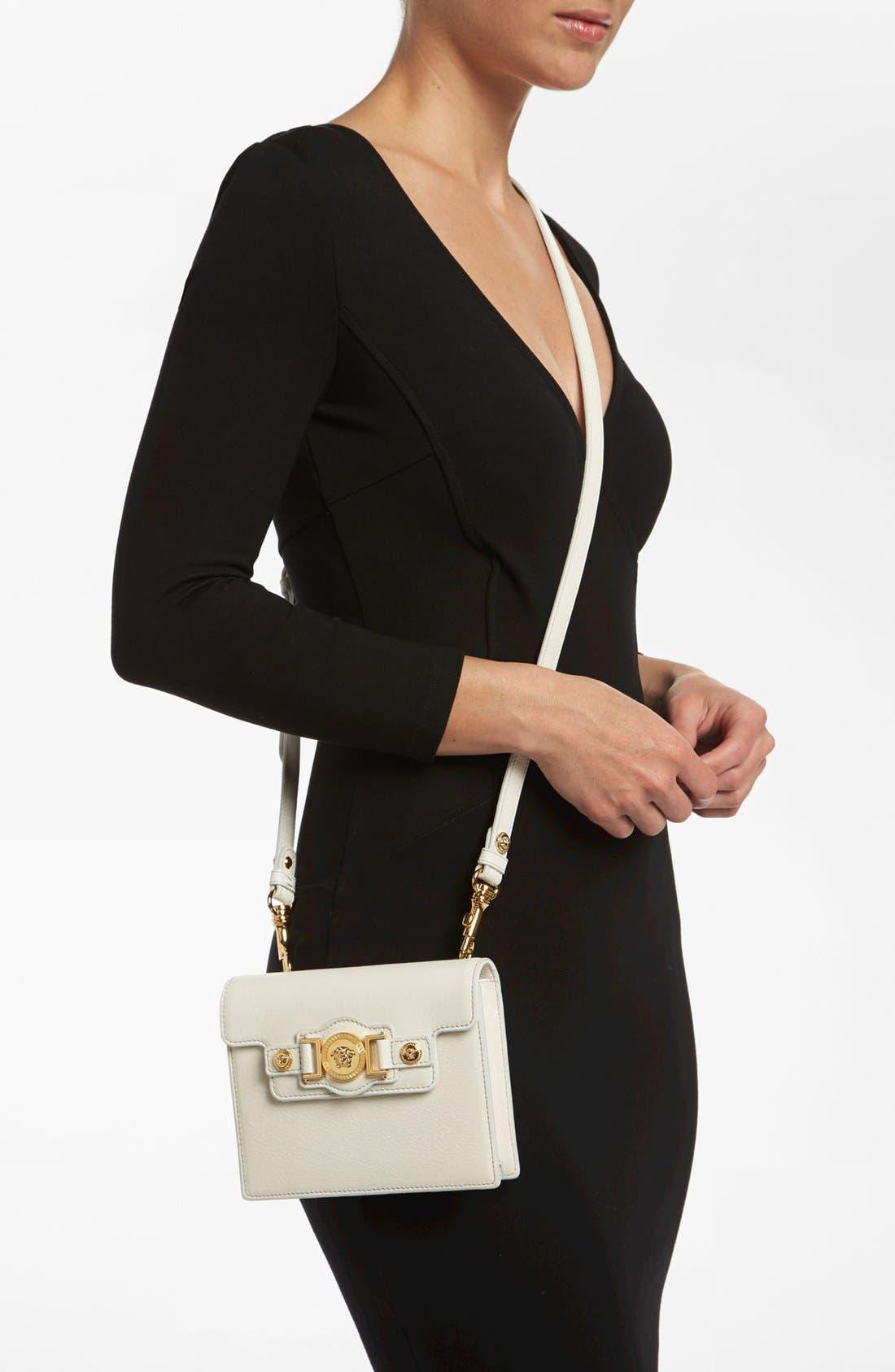 VERSACE 'Mini - Medusa' Leather Crossbody Bag, Main, color, 100