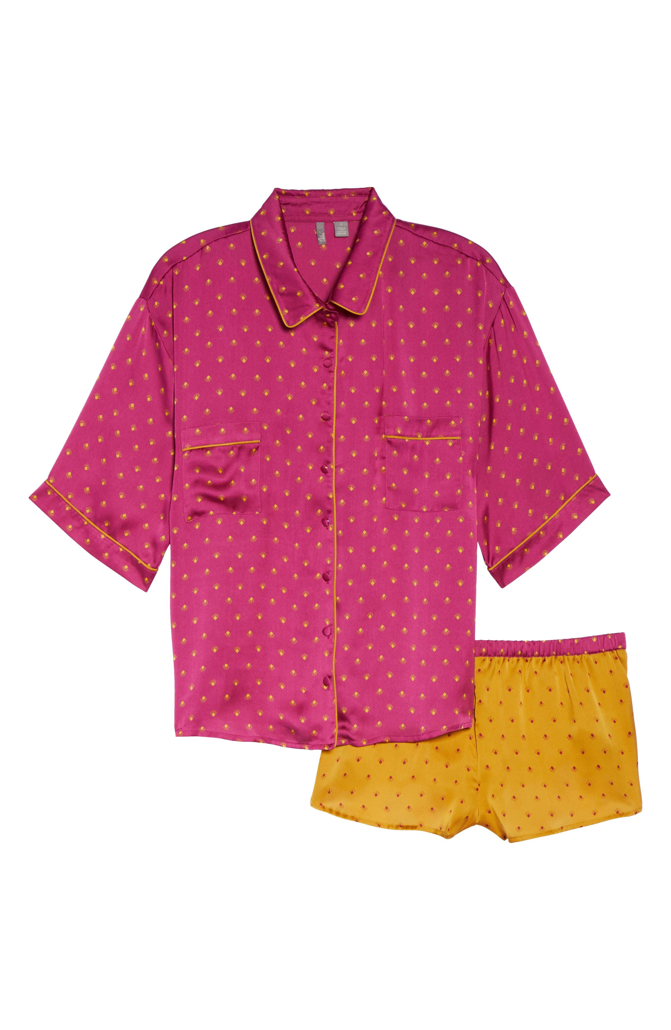 Short Satin Pajamas,                             Alternate thumbnail 18, color,