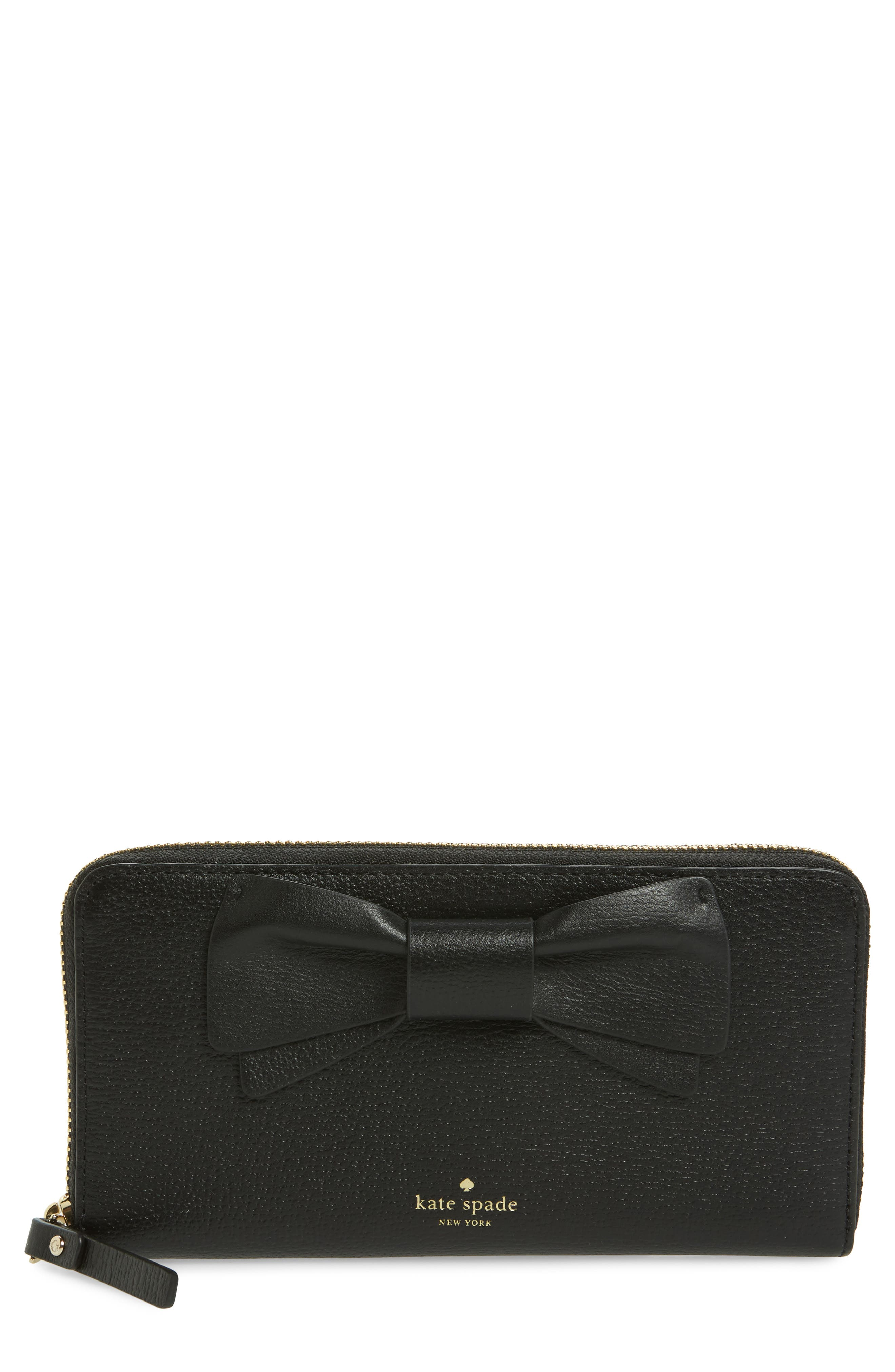 olive drive - lacey bow leather wallet,                             Main thumbnail 1, color,                             001