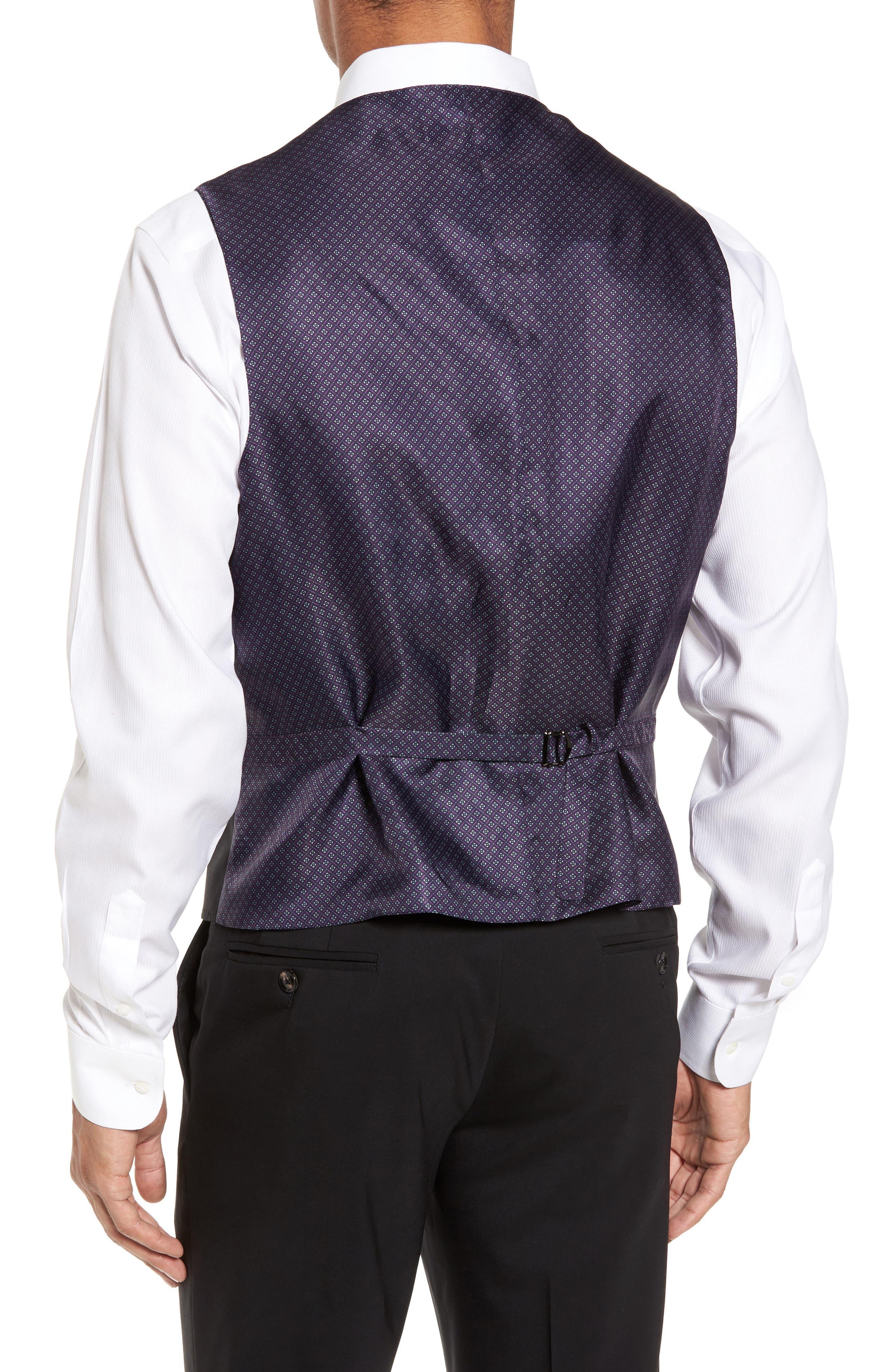 Trim Fit Solid Wool Vest,                             Alternate thumbnail 2, color,                             BLACK