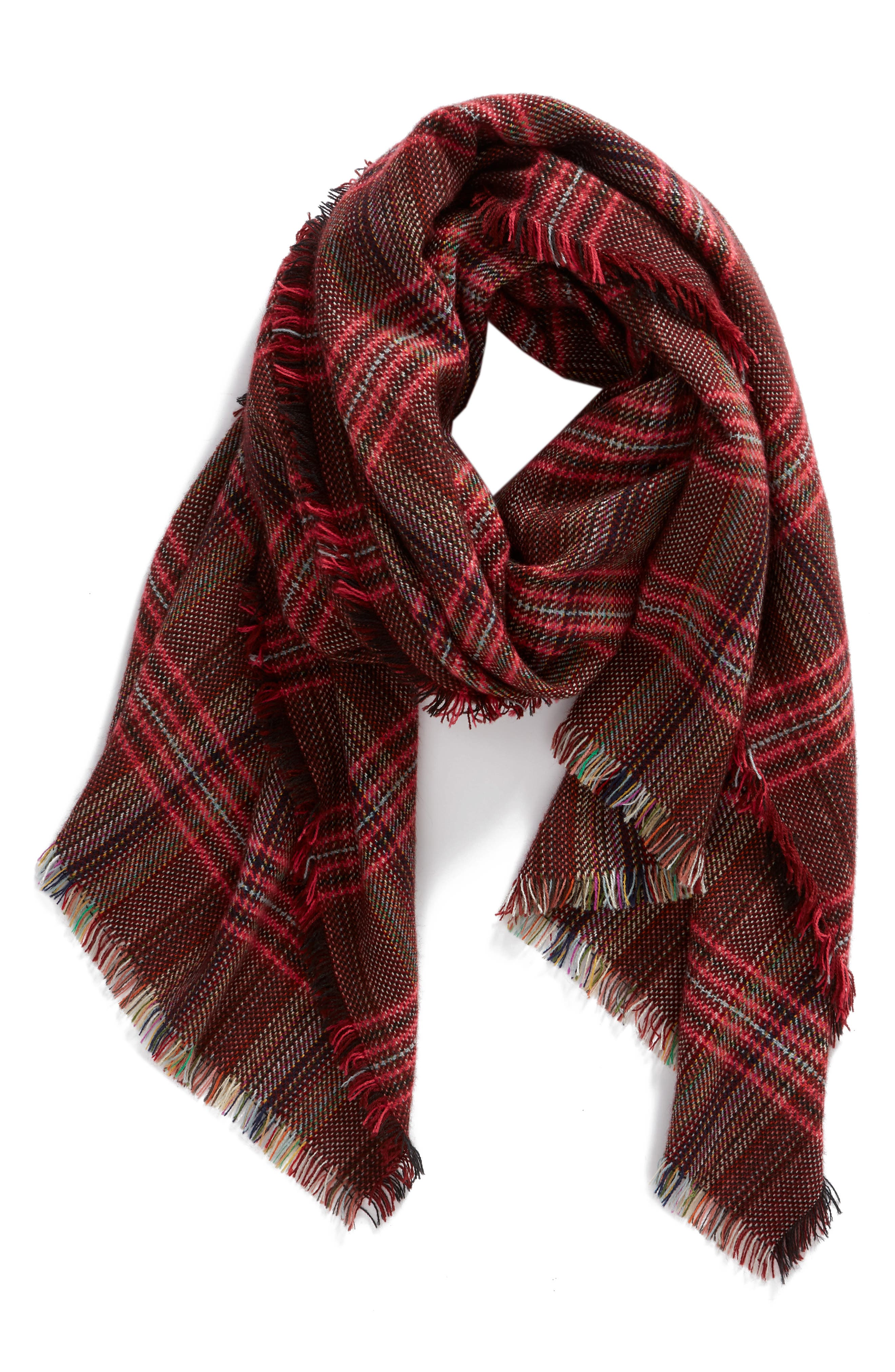 Checkered Scarf,                             Alternate thumbnail 2, color,                             OXBLOOD